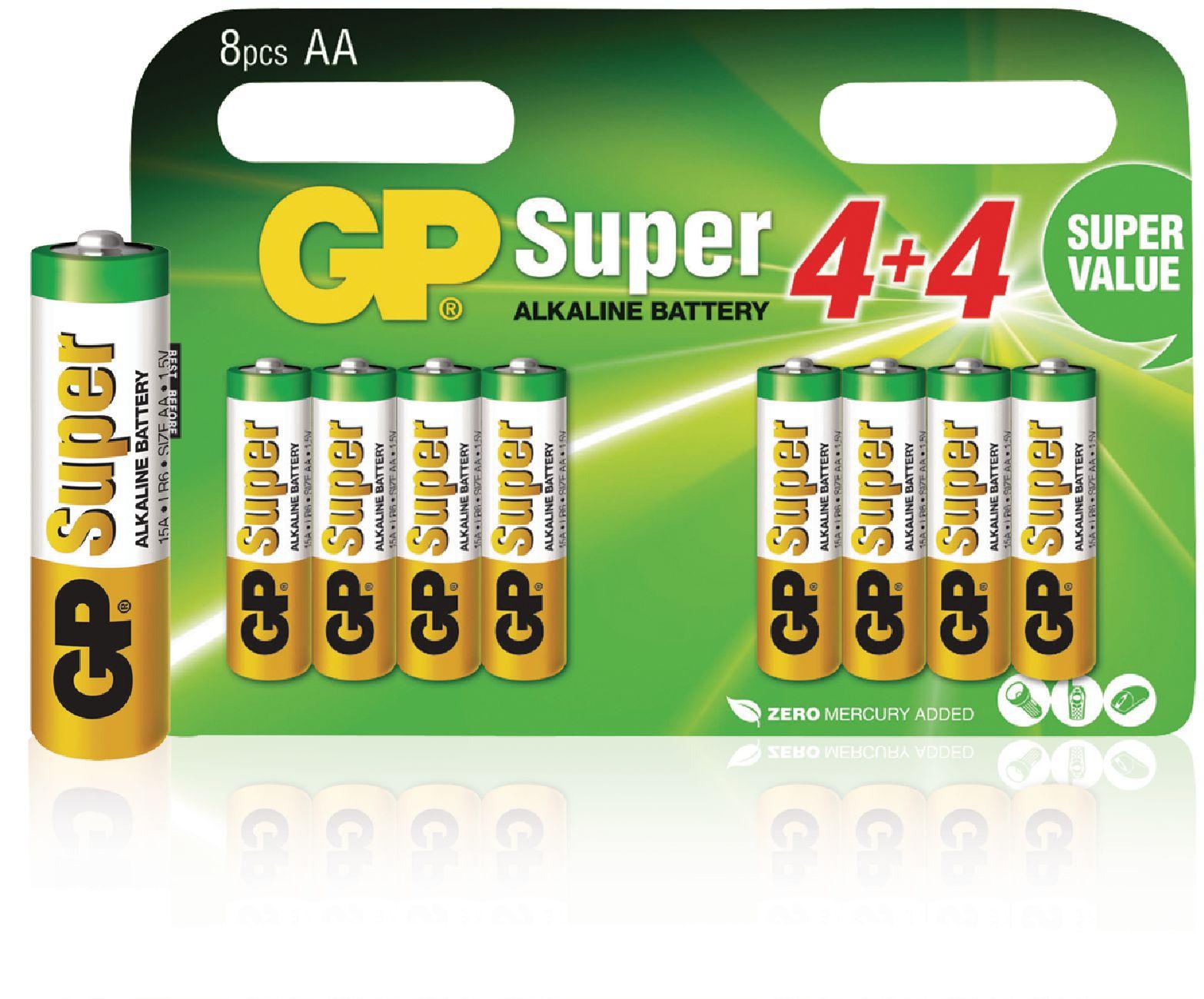 Alkalická baterie GP Super Alkaline AA 1.5V, 8ks
