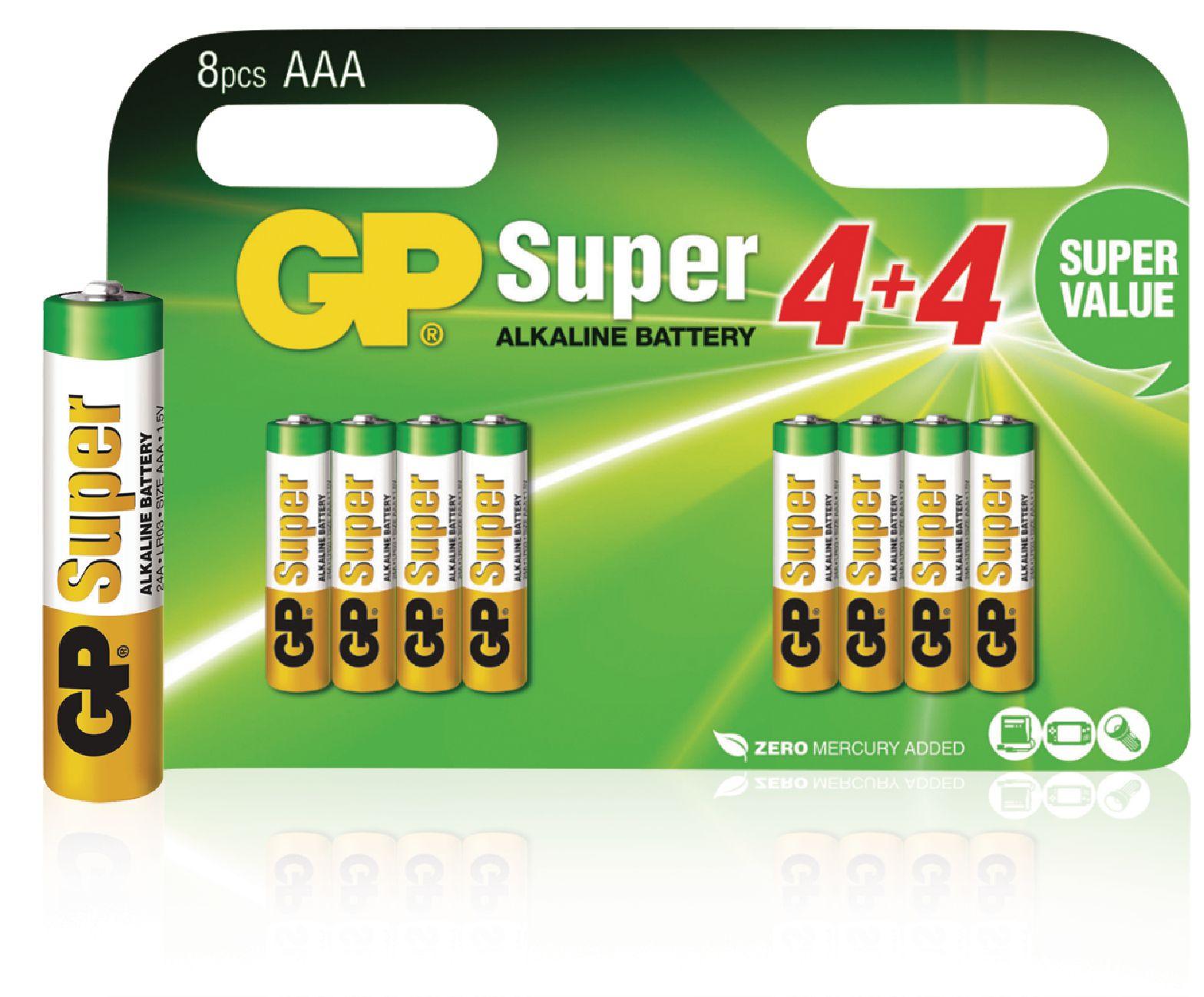 Alkalická baterie GP Super Alkaline AAA 1.5V, 8ks