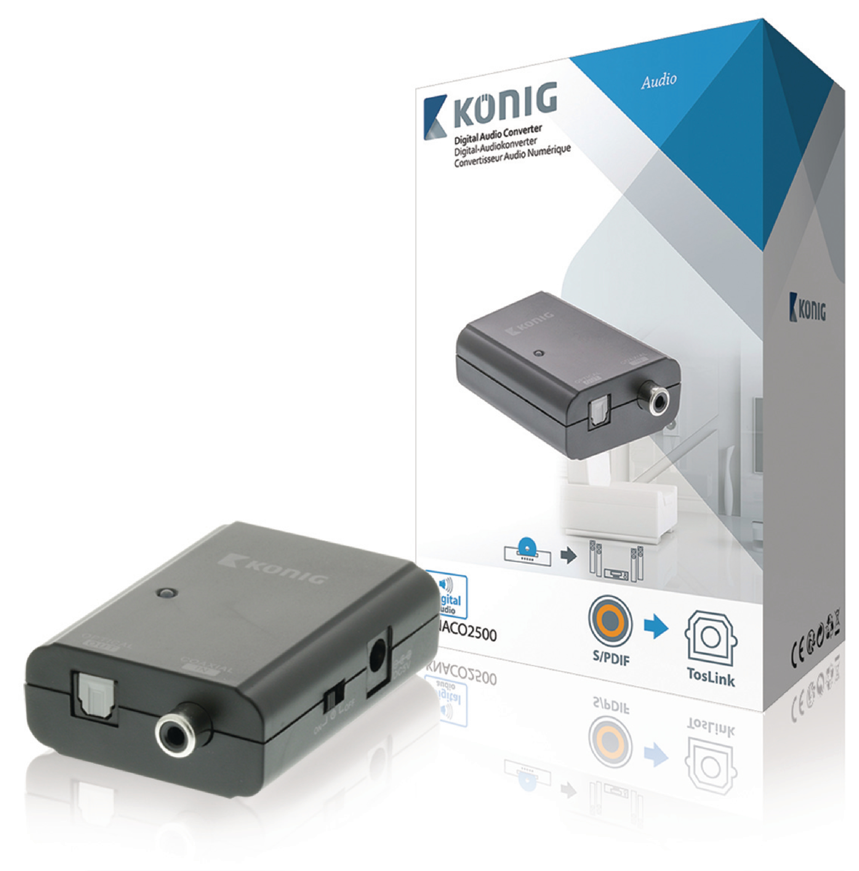 Převodník digitálního audia 1x RCA vstup na 1x TosLink výstup, König KNACO2500