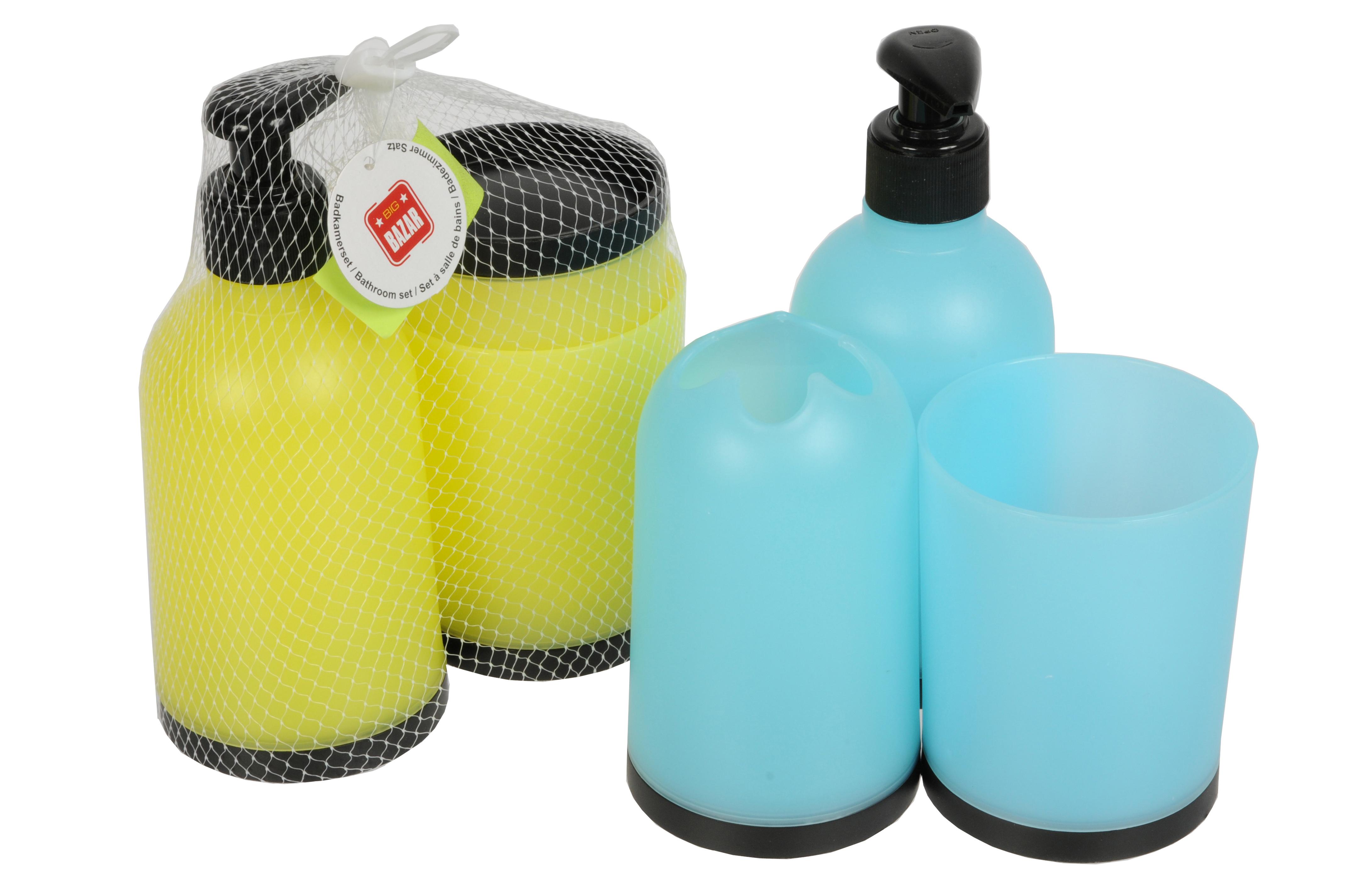 Koupelnový set 3 kusy (dávkovač mýdla, kelímek na kartáčky, kelímek)
