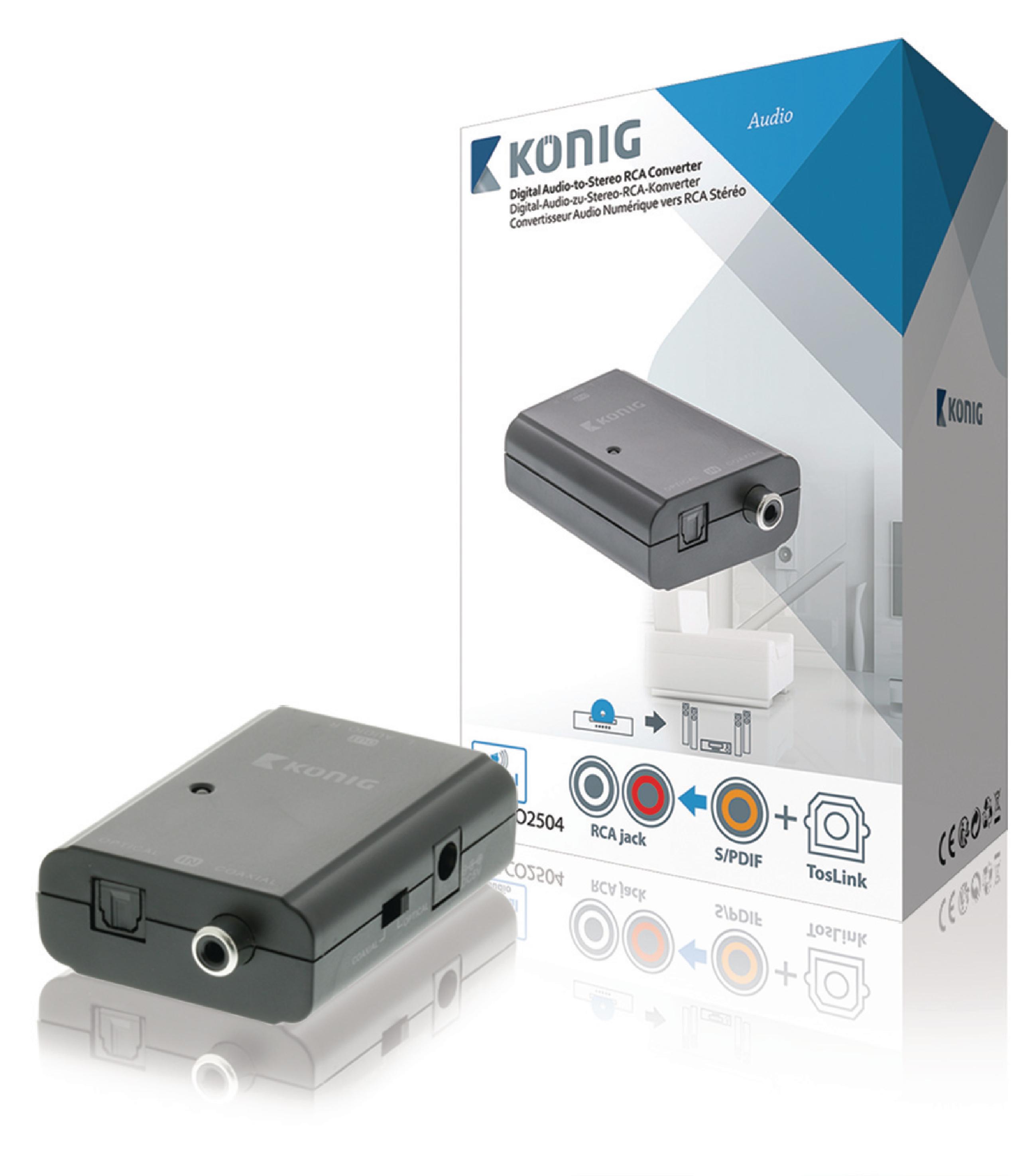 Převodník digitálního audia TosLink + RCA S/PDIF na analog RCA stereo König KNACO2504