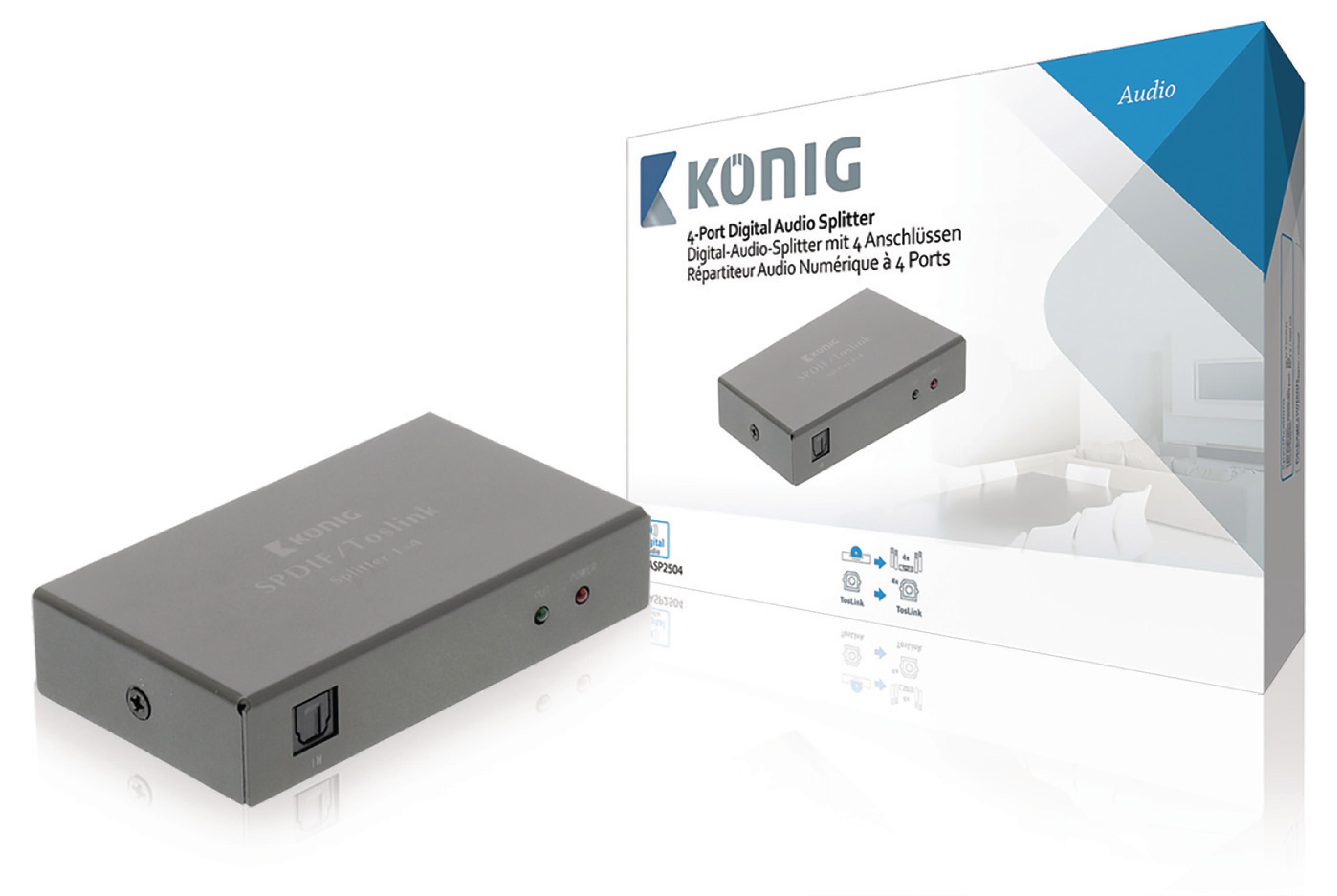 Digitální audio rozbočovač TosLink vstup na 4x TosLink výstupy König KNASP2504
