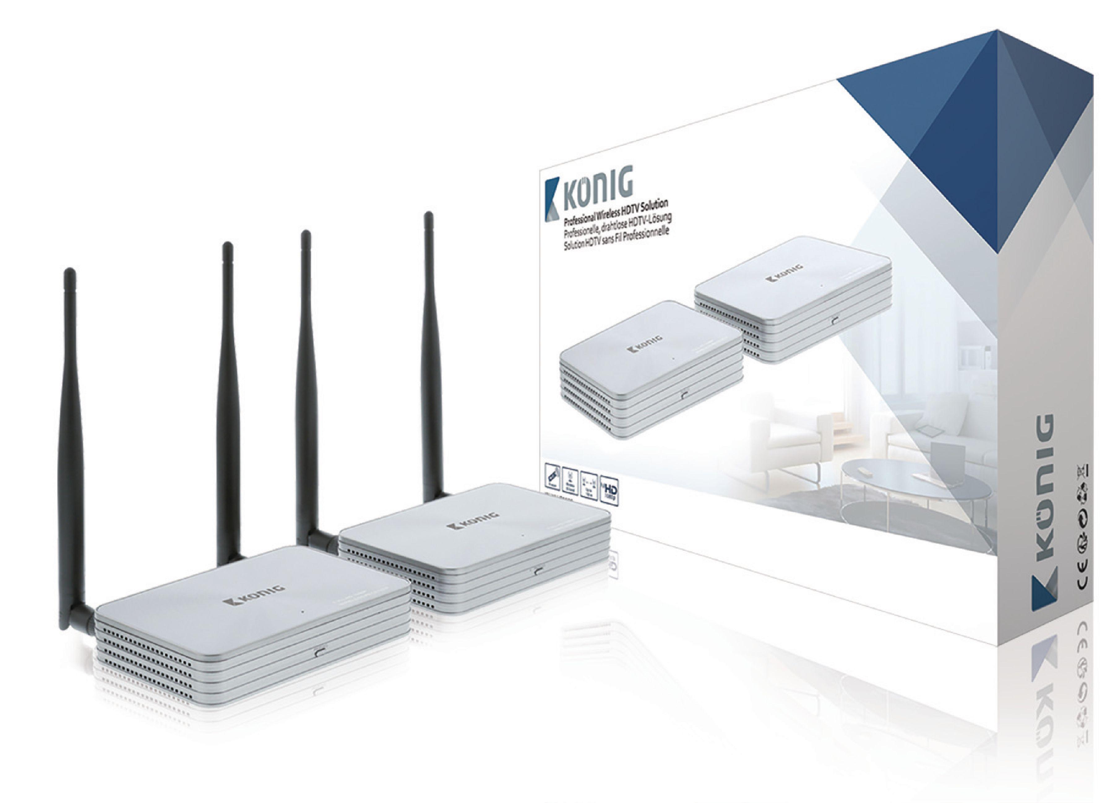 5 GHz bezdrátový přenos HDMI 1080p do 100 m, König KN-WLHDMI20