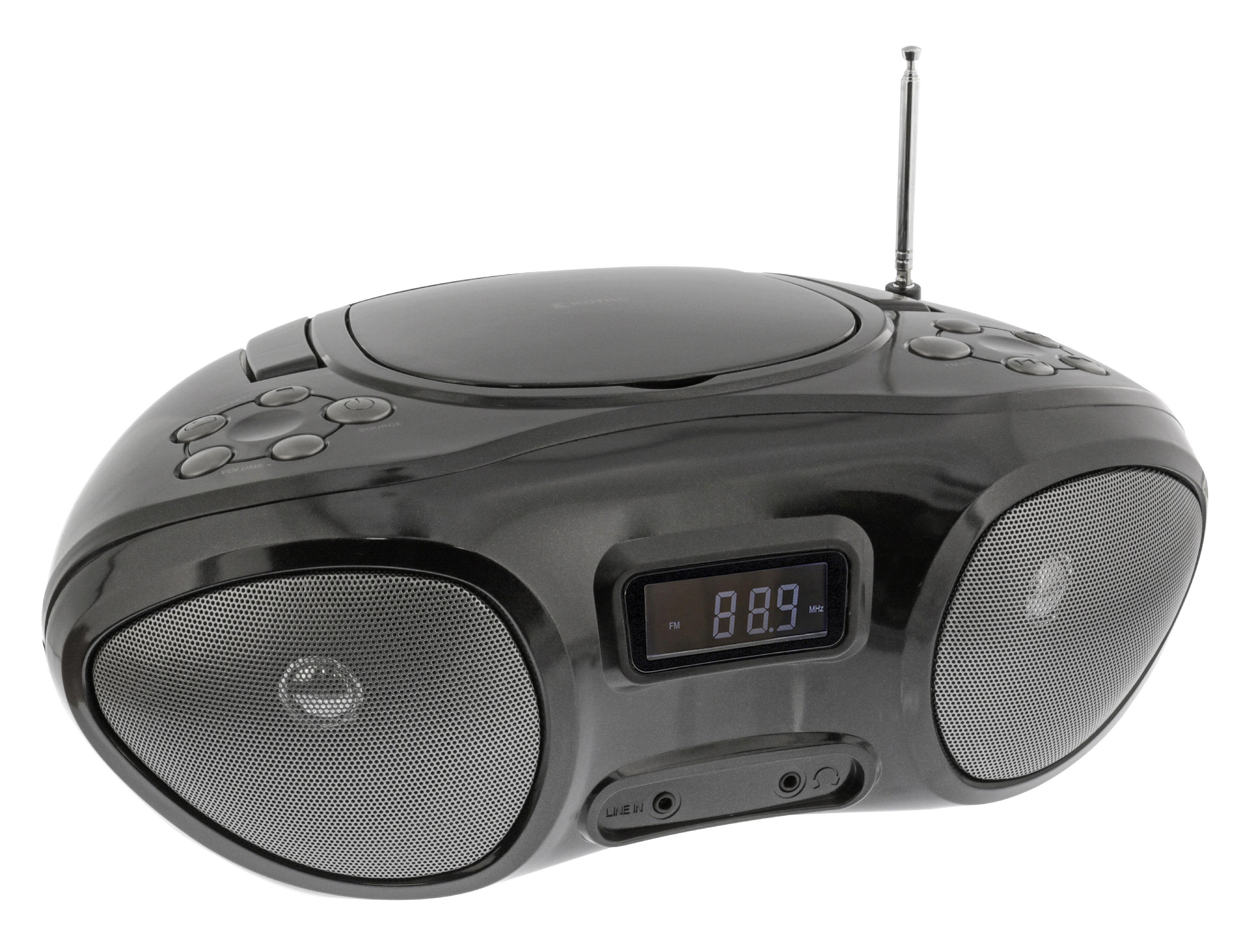 Přenosný CD přehrávač AUX / CD / MP3 CD / rádio, König HAV-BB100BL