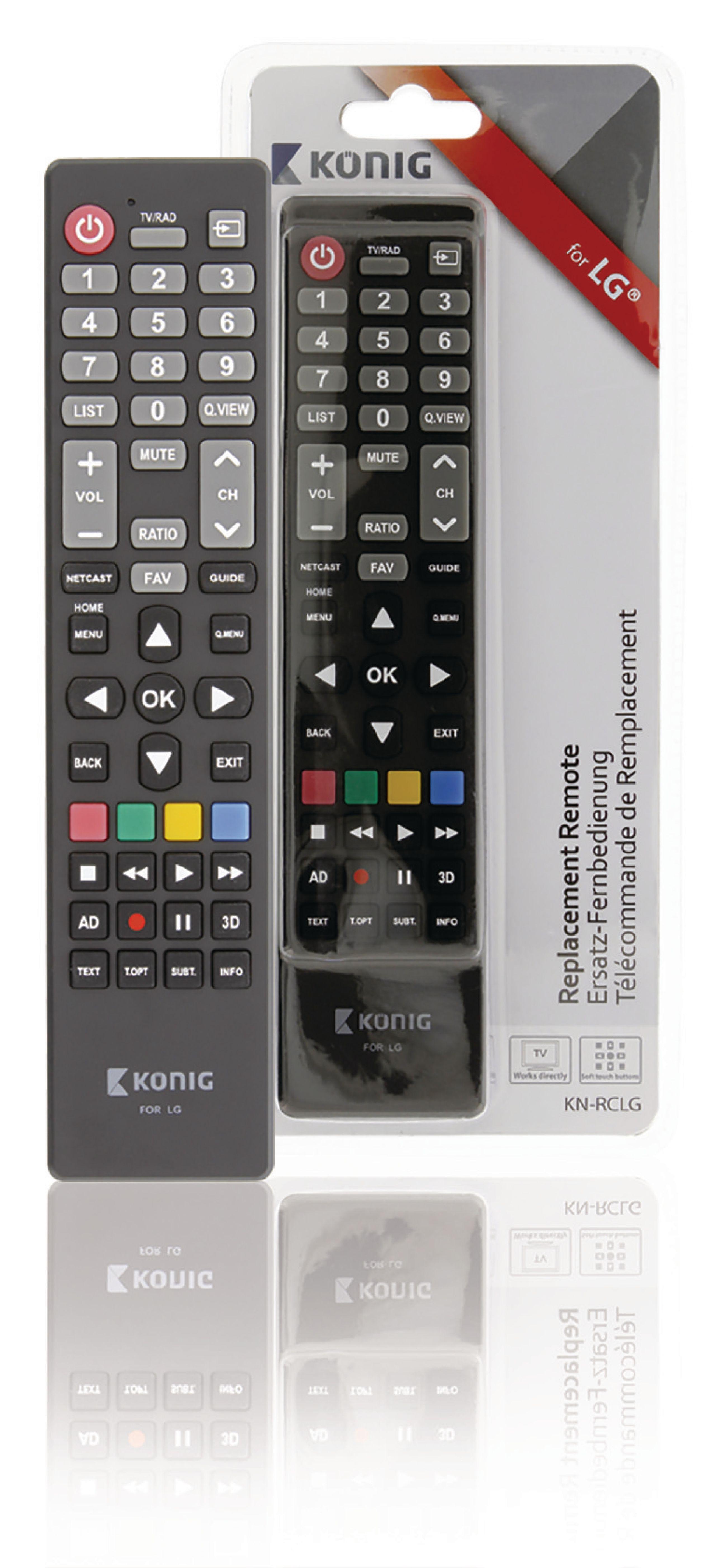 Předprogramovaný dálkový ovladač pro TV LG, König KN-RCLG