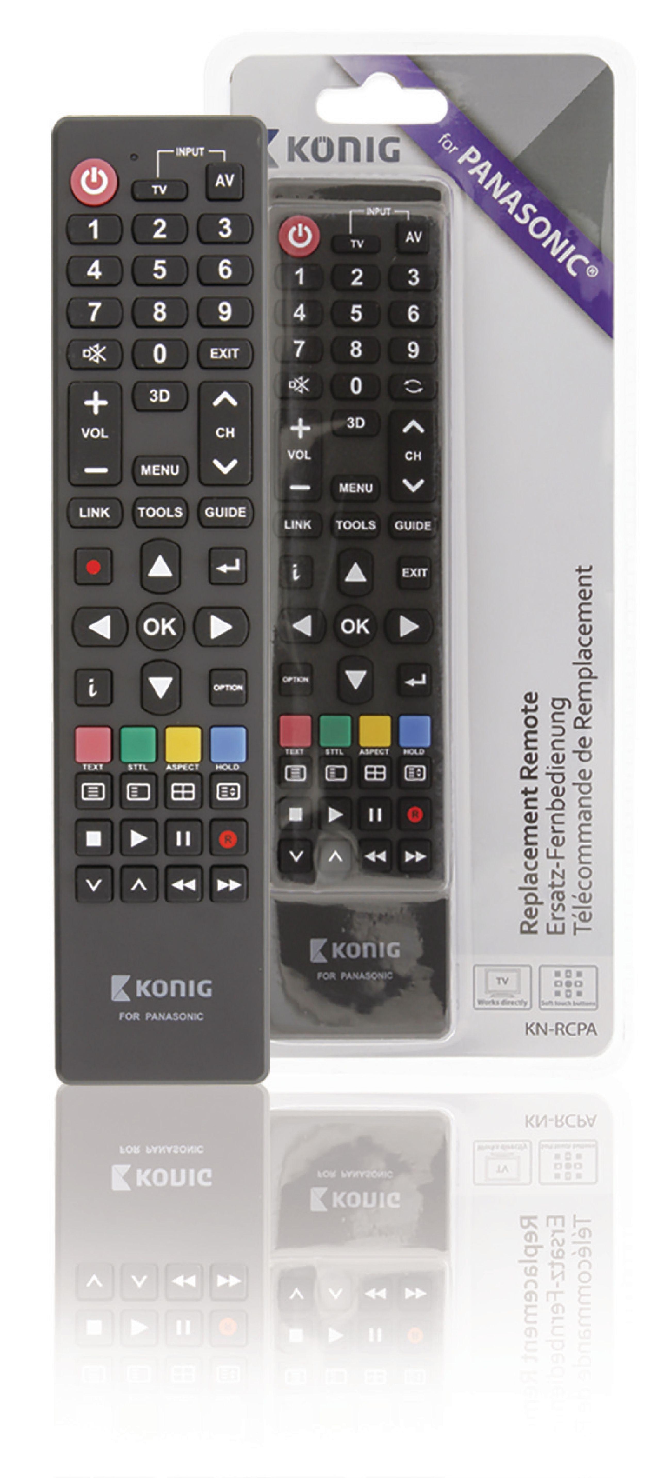 Předprogramovaný dálkový ovladač pro TV Panasonic, König KN-RCPA