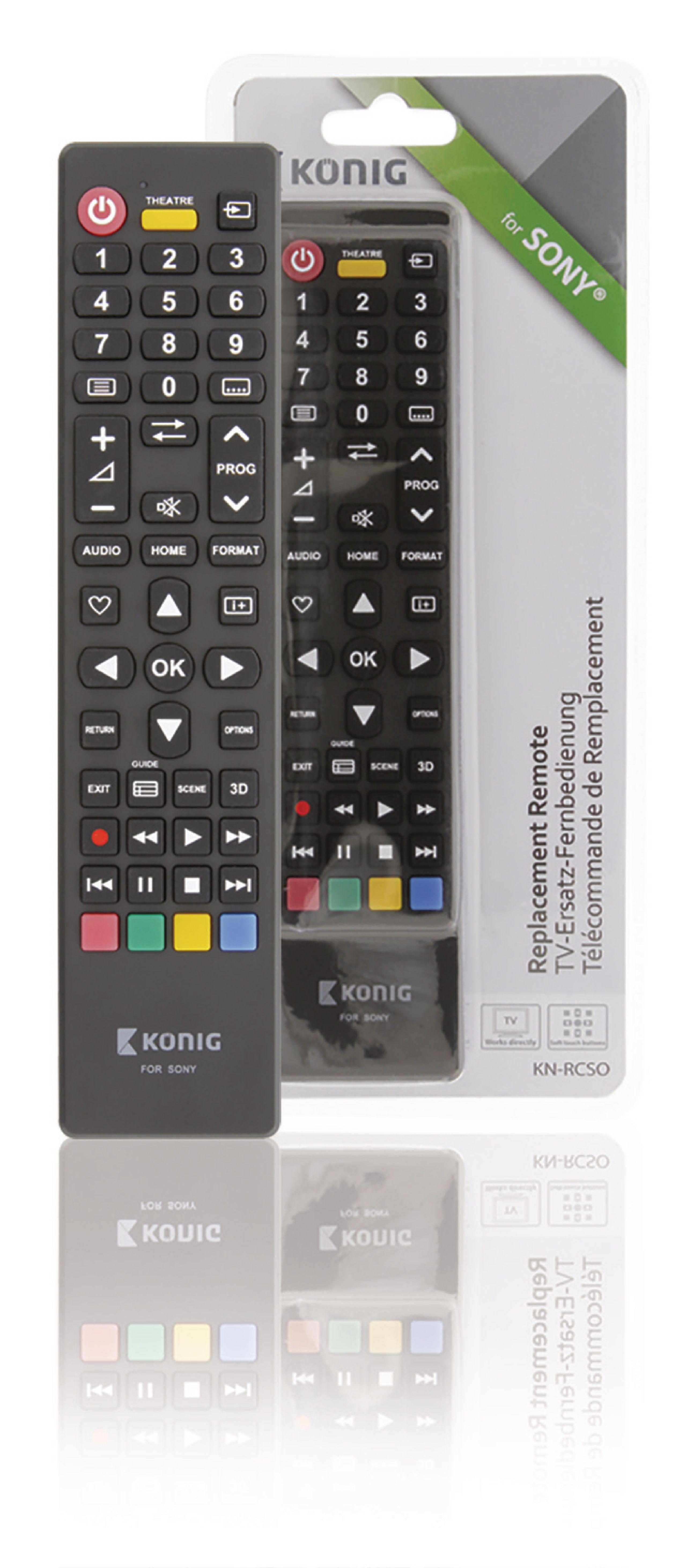 Předprogramovaný dálkový ovladač pro TV Sony, König KN-RCSO