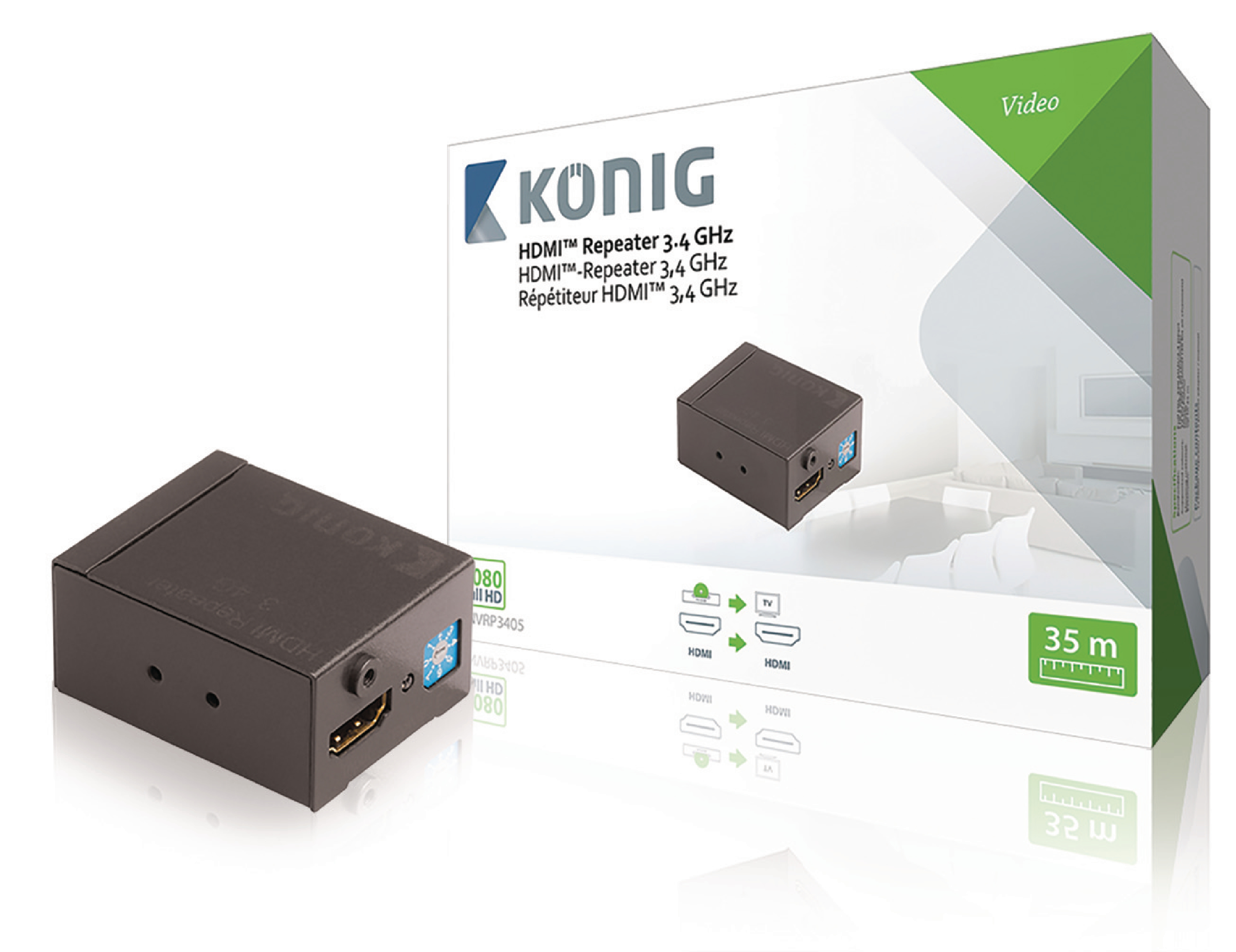 Zesilovač HDMI, Full HD 1920x1080, do 35m König KNVRP3405