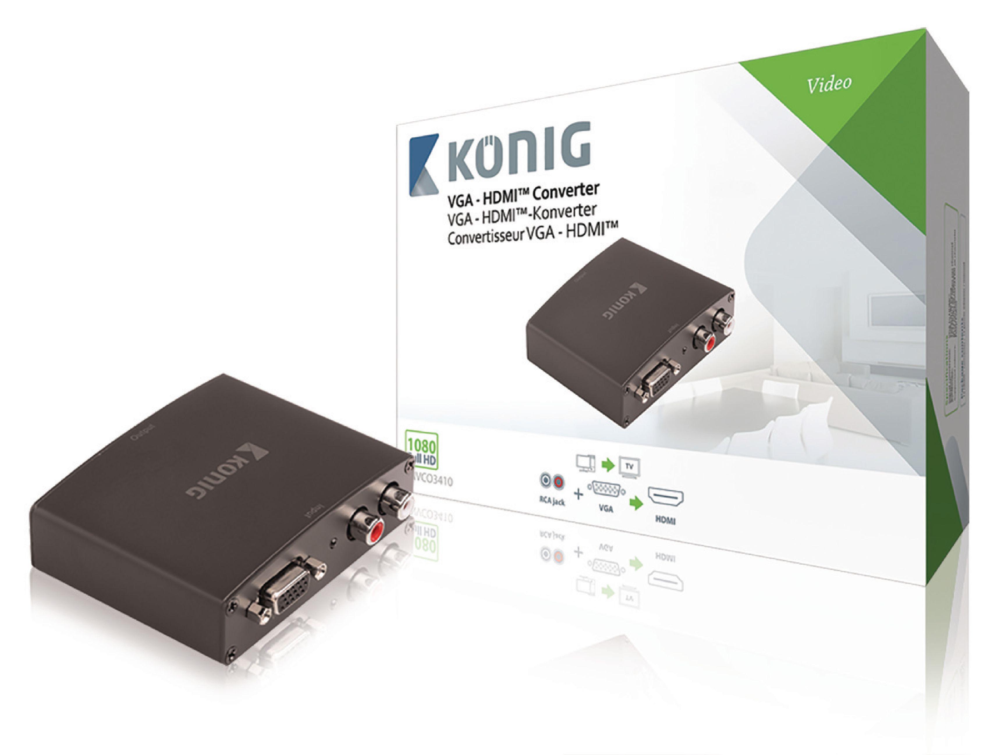 HDMI převodník VGA + 2x RCA na HDMI, Full HD 1920x1080 König KNVCO3410