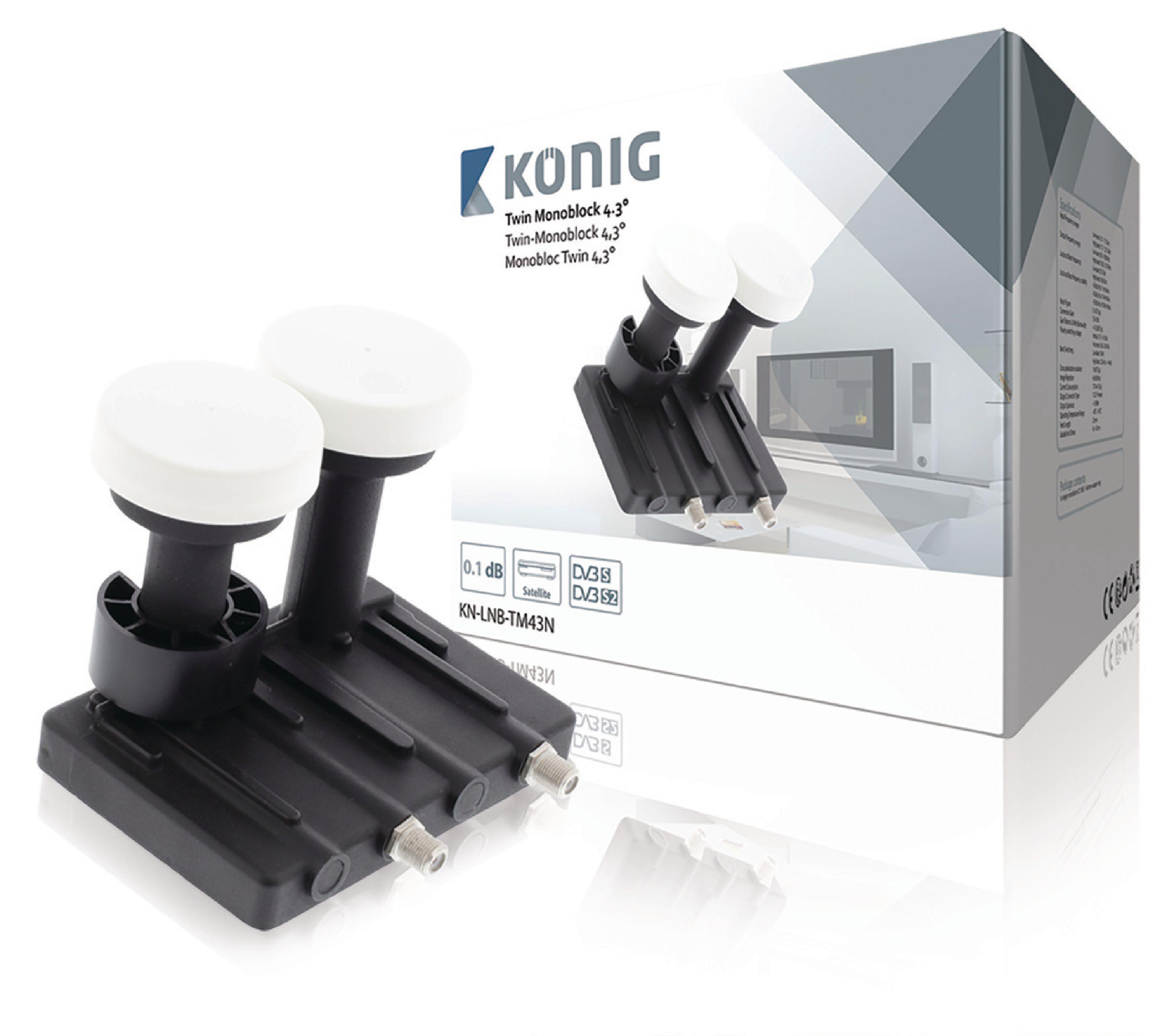 LNB Twin monoblok 4.3° 0.1 dB, König KN-LNB-TM43N