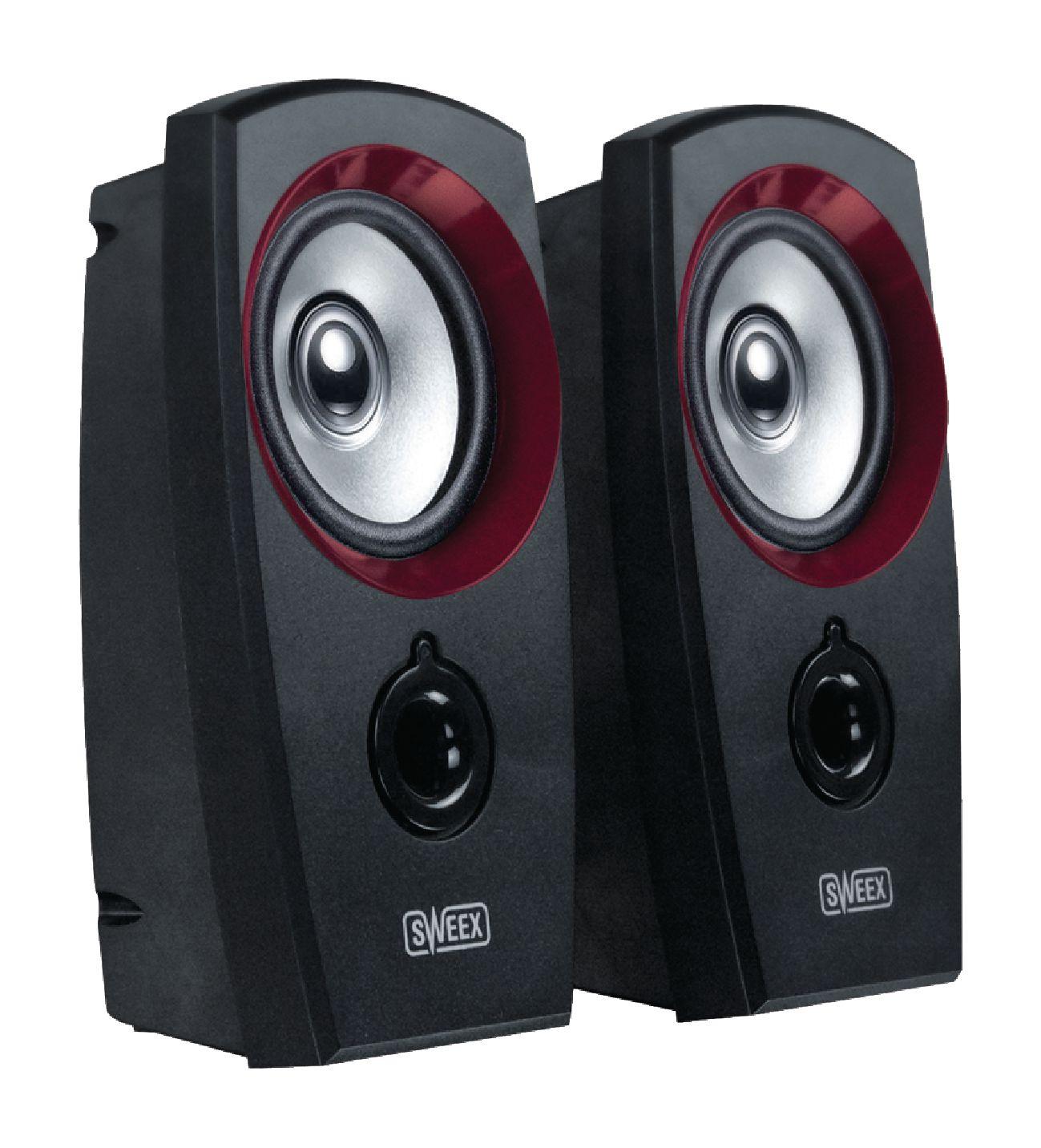 Sweex SP040 stereo reproduktory 2W, USB, jack 3.5mm, černé/červené