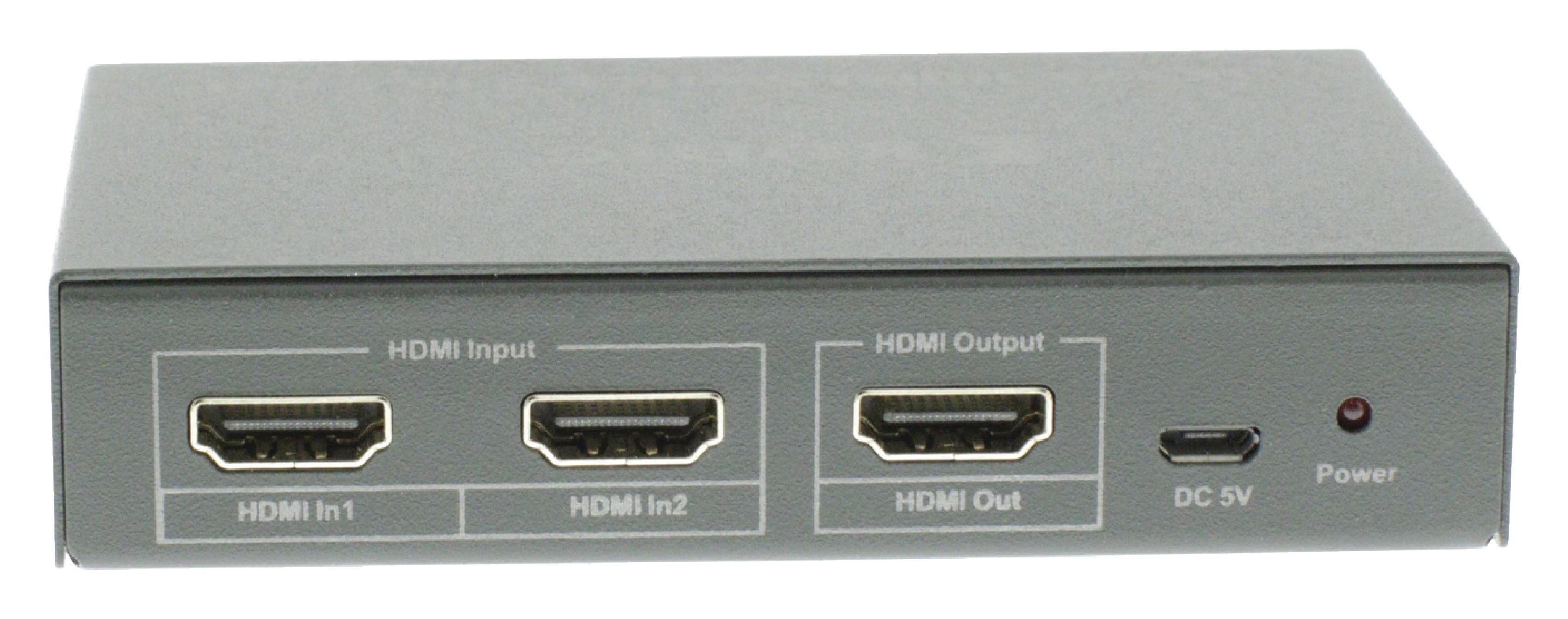 HDMI 4K2K přepínač 2 vstupy na 1 výstup, dálkový ovladač König KNVSW3412