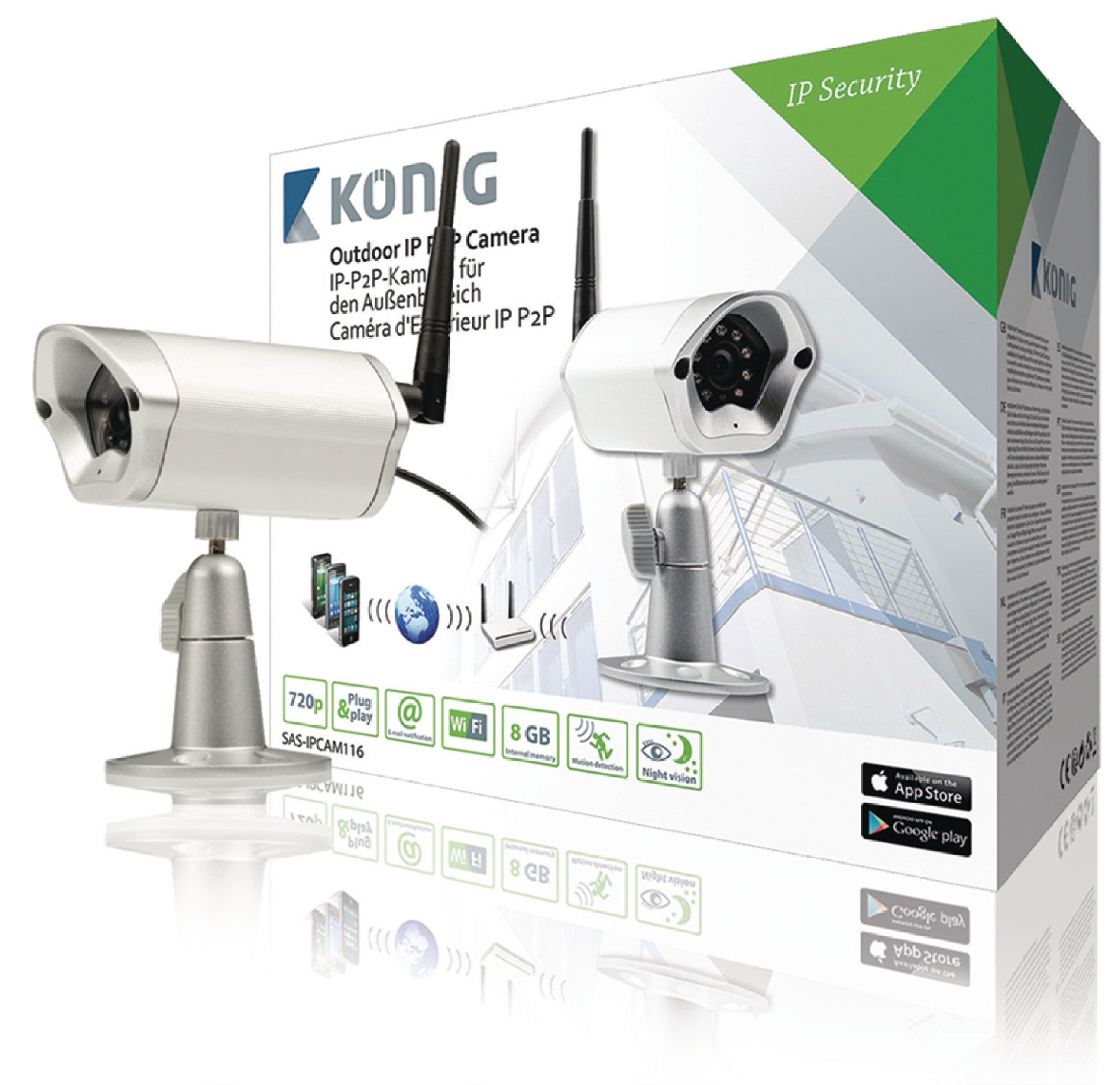 HD IP kamera Venkovní 720P Kov SAS-IPCAM116