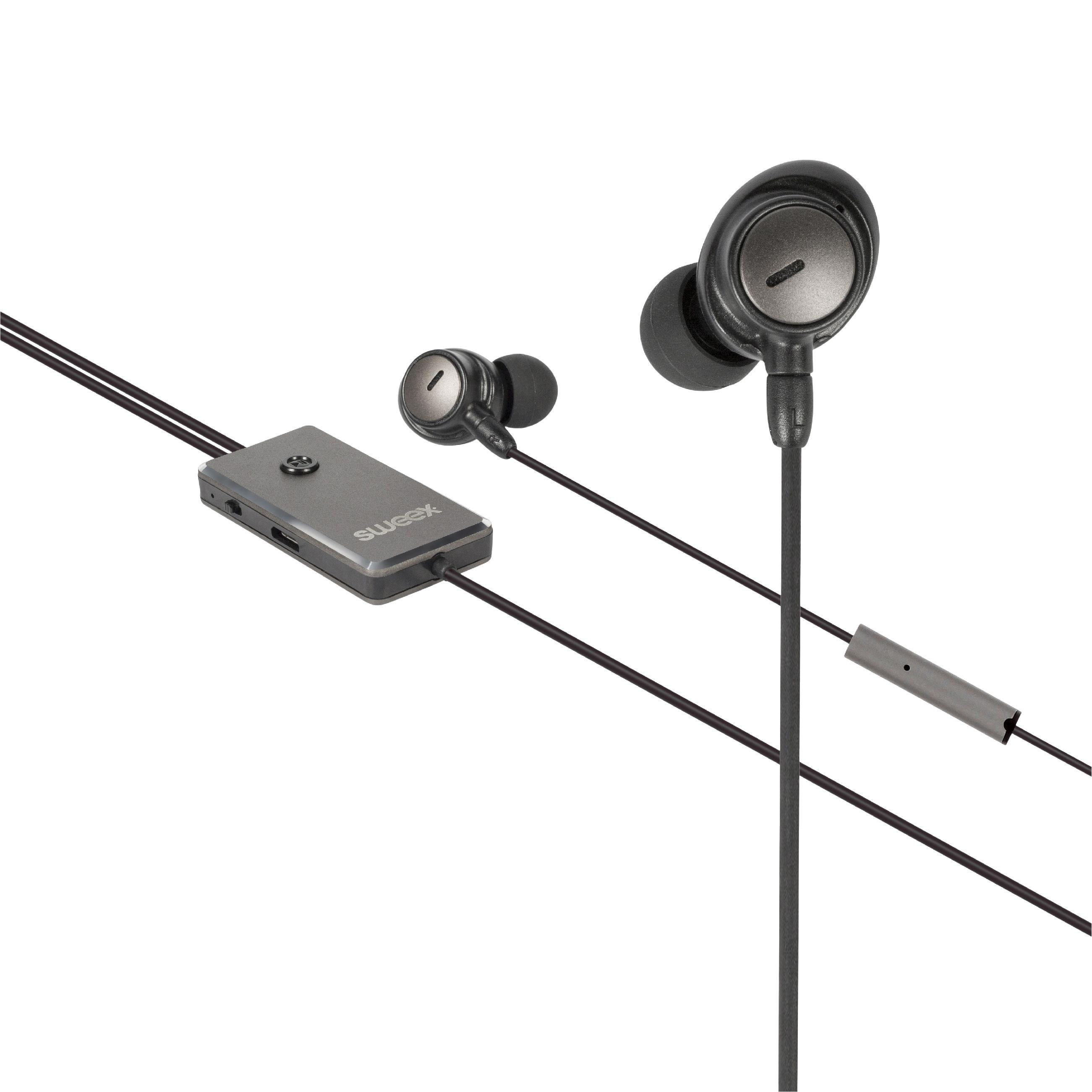 Sweex ANC sluchátka do uší s mikrofonem, 3.5 mm jack, SWANCHS100GY