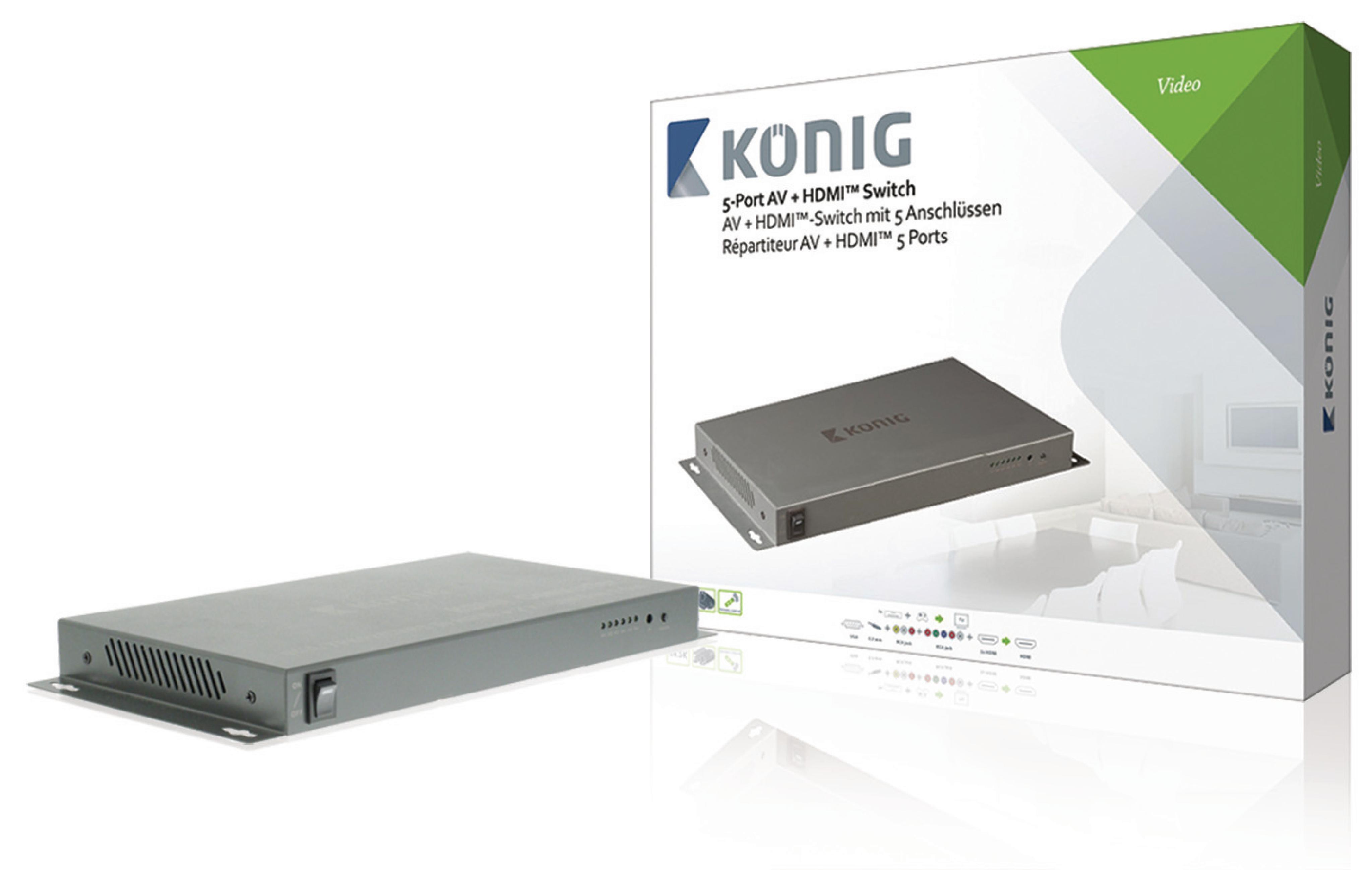 HDMI 4K2K přepínač 5 vstupů na 1 výstup König KNVSW3425