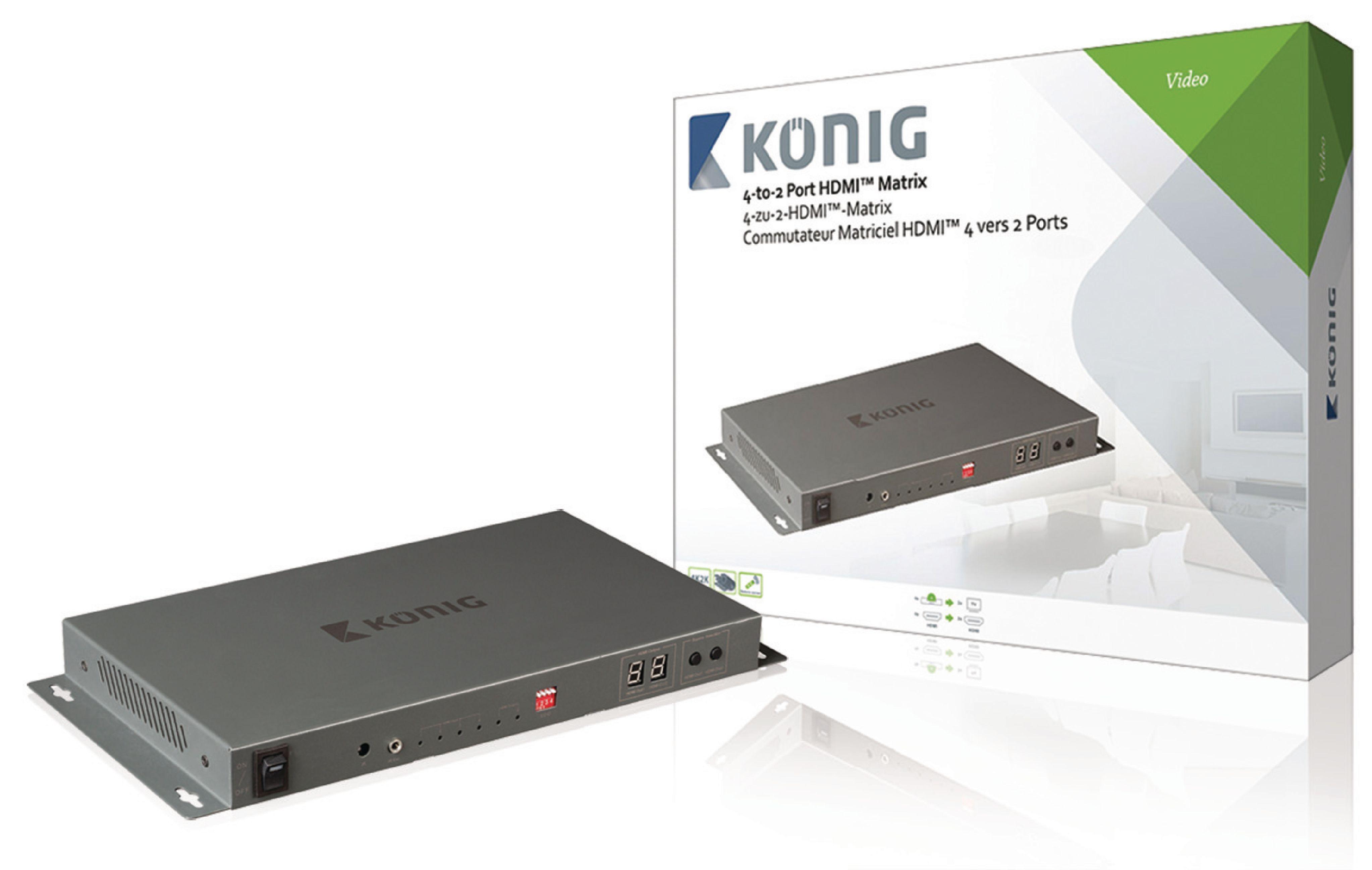 HDMI 4K2K maticový přepínač 4 vstupy na 2 výstup König KNVMA3442