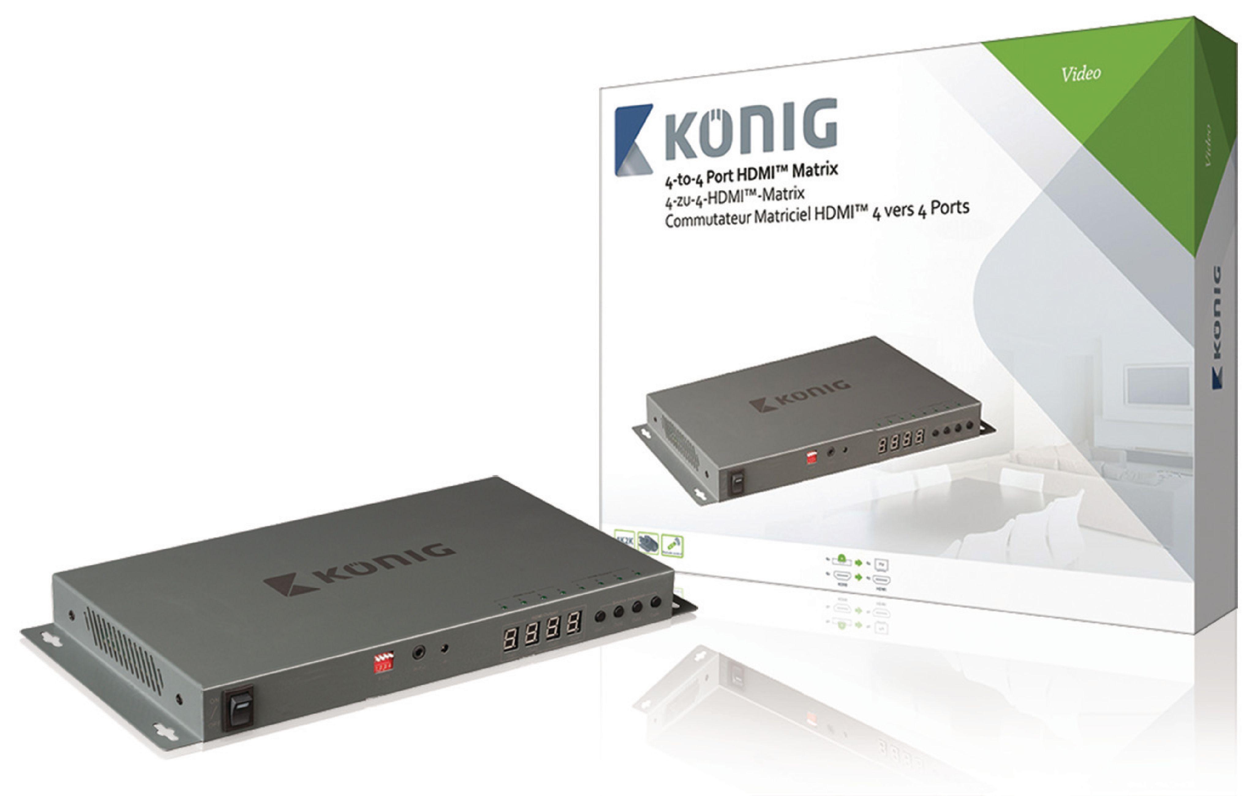 HDMI 4K2K maticový přepínač 4 vstupy na 4 výstup König KNVMA3444