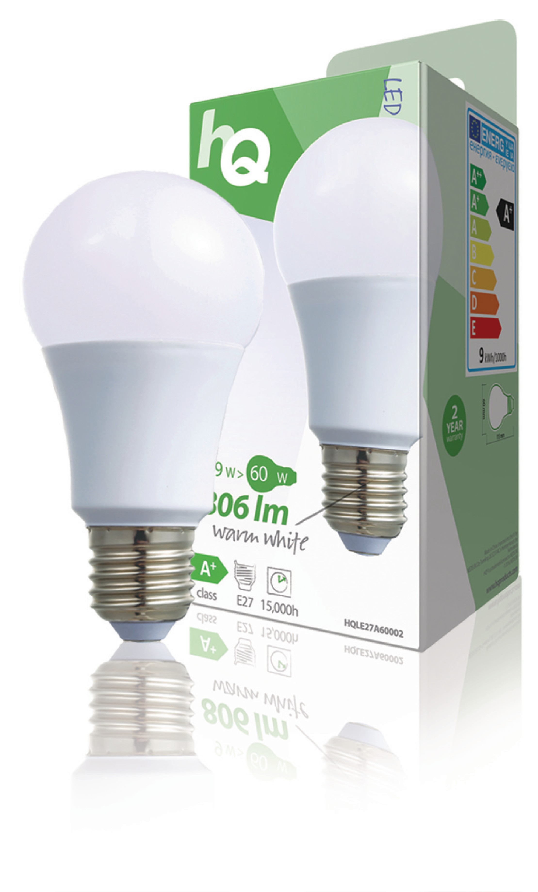 HQ LED žárovka E27 9.5W 806lm 2700K (HQLE27A60002)