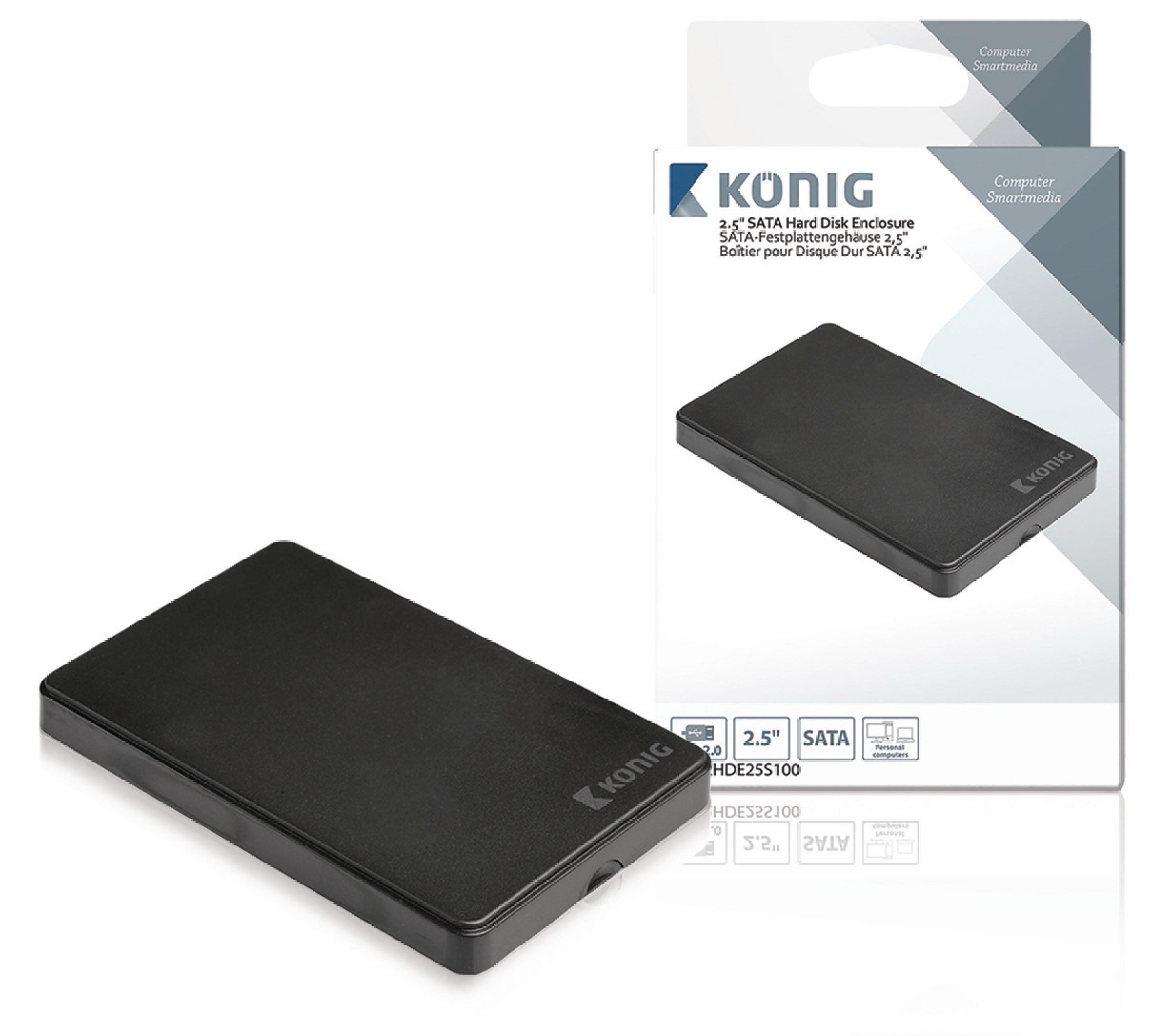 """Externí box König pro pevný disk 2.5"""" SATA USB 2.0, CSU2HDE25S100"""