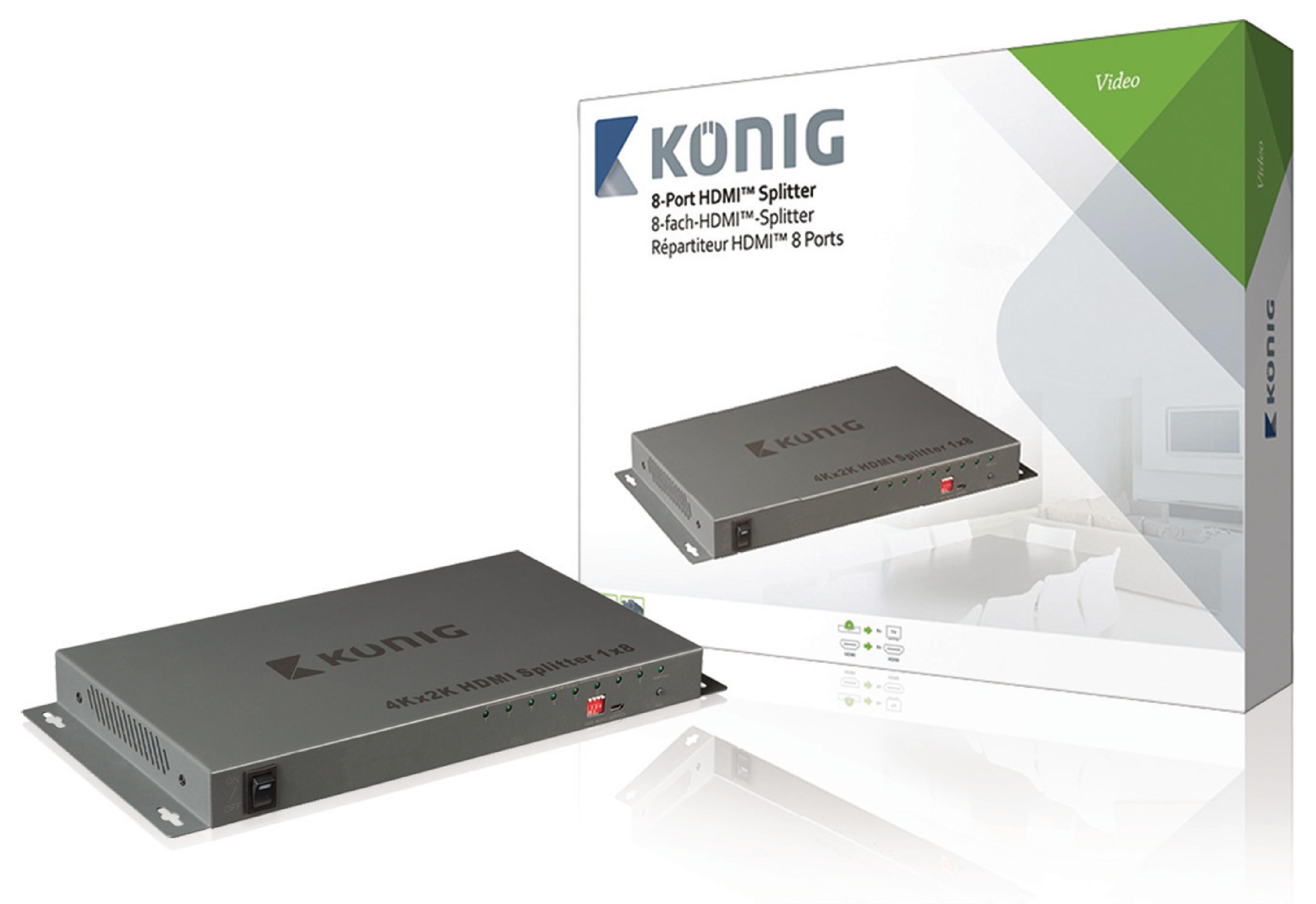 HDMI 4K2K rozbočovač 1 vstup na 8 výstupů König KNVSP3408