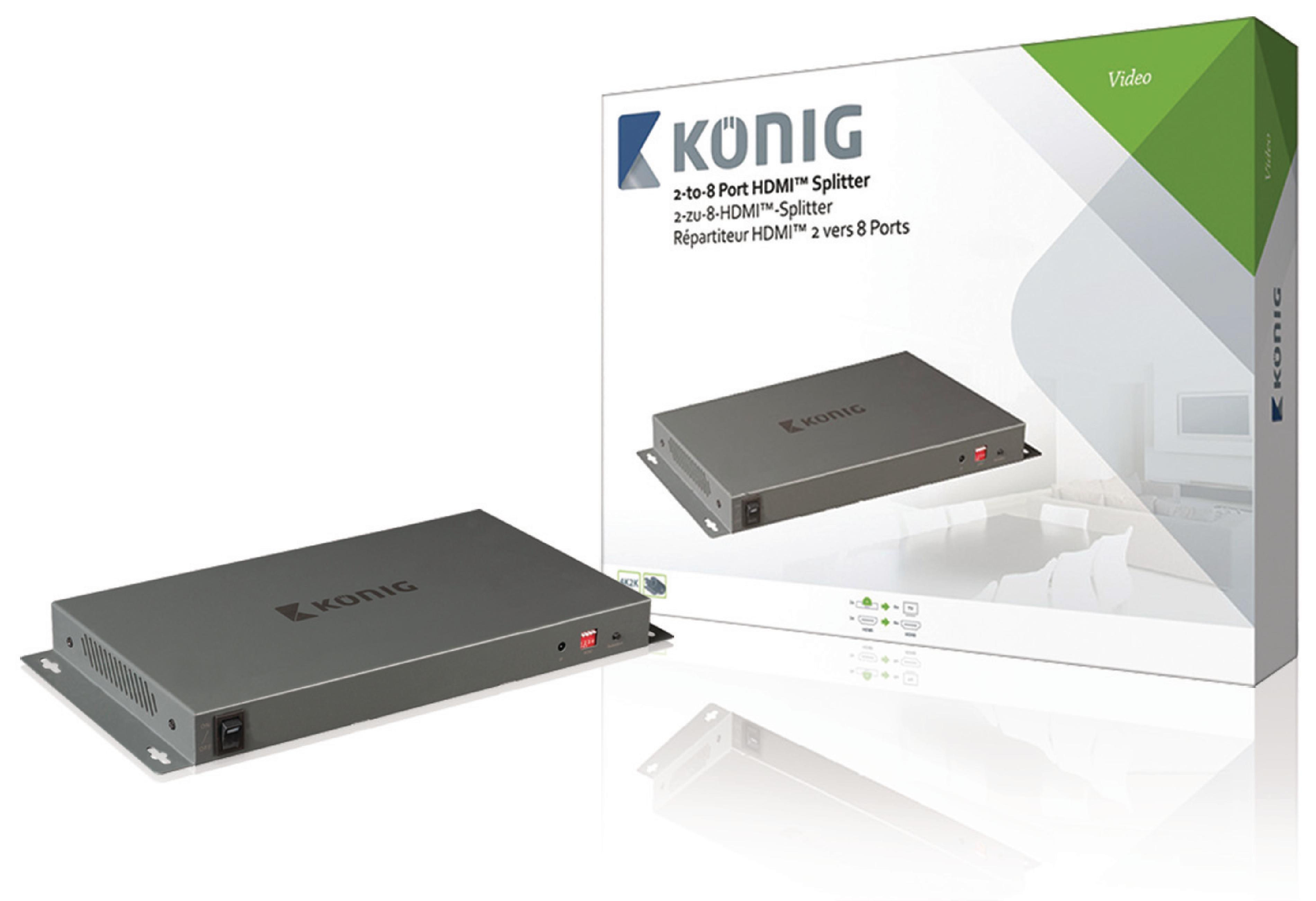 HDMI 4K2K rozbočovač 2 vstupy na 8 výstupů König KNVSP3428
