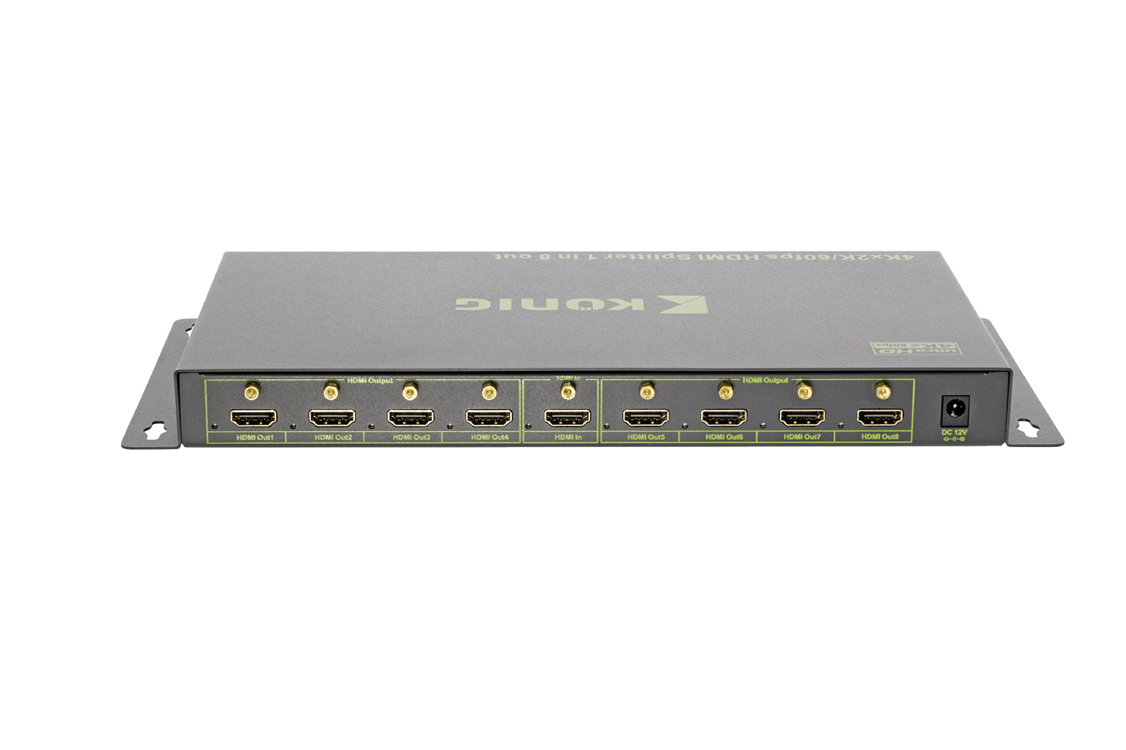 HDMI UHD 4K2K rozbočovač 1 vstup na 8 výstupů König KNVSP3438