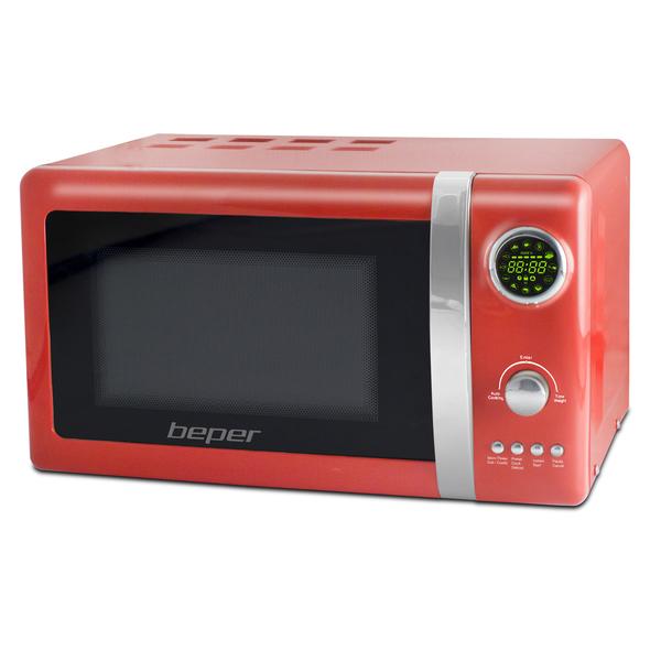 BEPER 90890-R digitální mikrovlnná trouba s grilem 20l retro červená