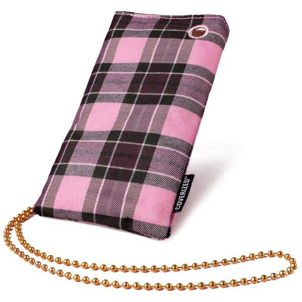 Coverized JACK pouzdro na MP3 / PDA / mobilní telefon / digitální fotoaparát, růžový tartan