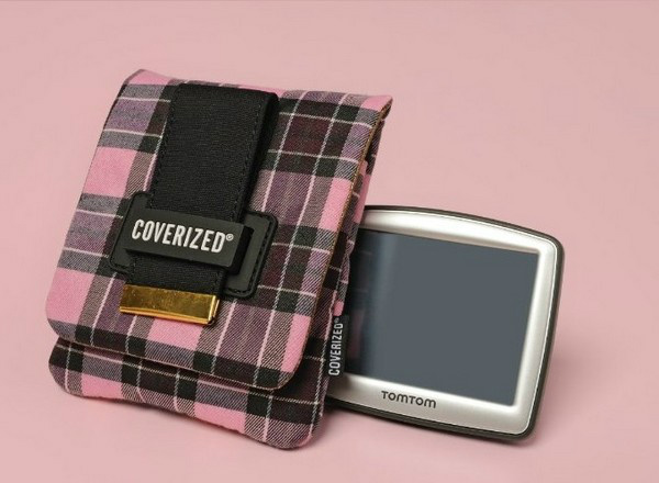 Coverized JACK brašna na GPS / digitální fotoaparát, růžový tartan
