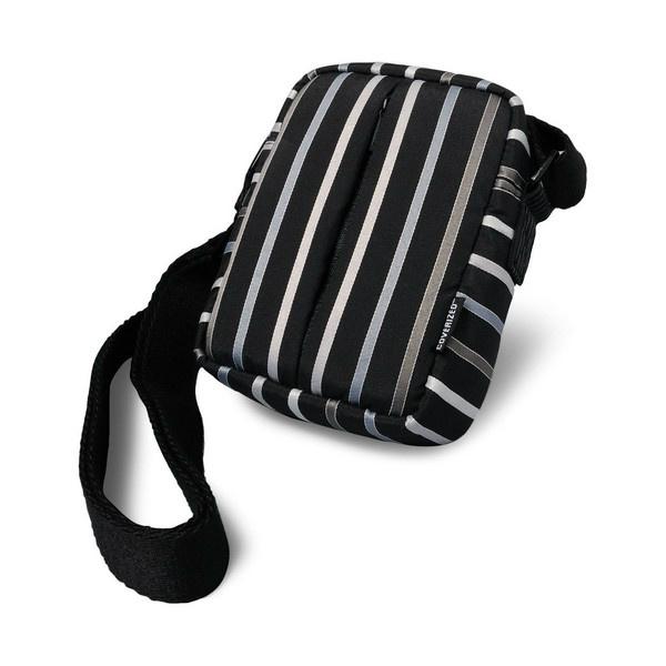 Coverized TAILOR malá brašna na digitální fotoaparát, černá, široké pruhy
