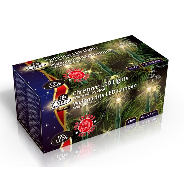 Vánoční vnitřní světelný řetěz 10x LED dioda teplá bílá, 230V, délka 2.3 m