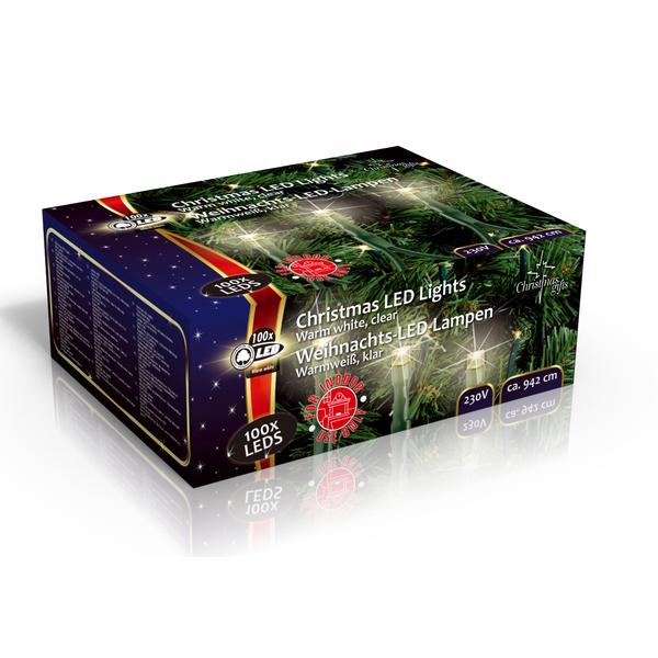 Vánoční vnitřní světelný řetěz 100x LED dioda teplá bílá, 230V, délka 9.5 m