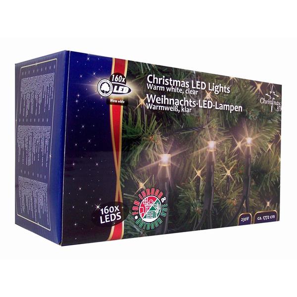 Vánoční vnitřní i venkovní světelný řetěz 160x LED dioda teplá bílá, 230V, délka 17.8 m
