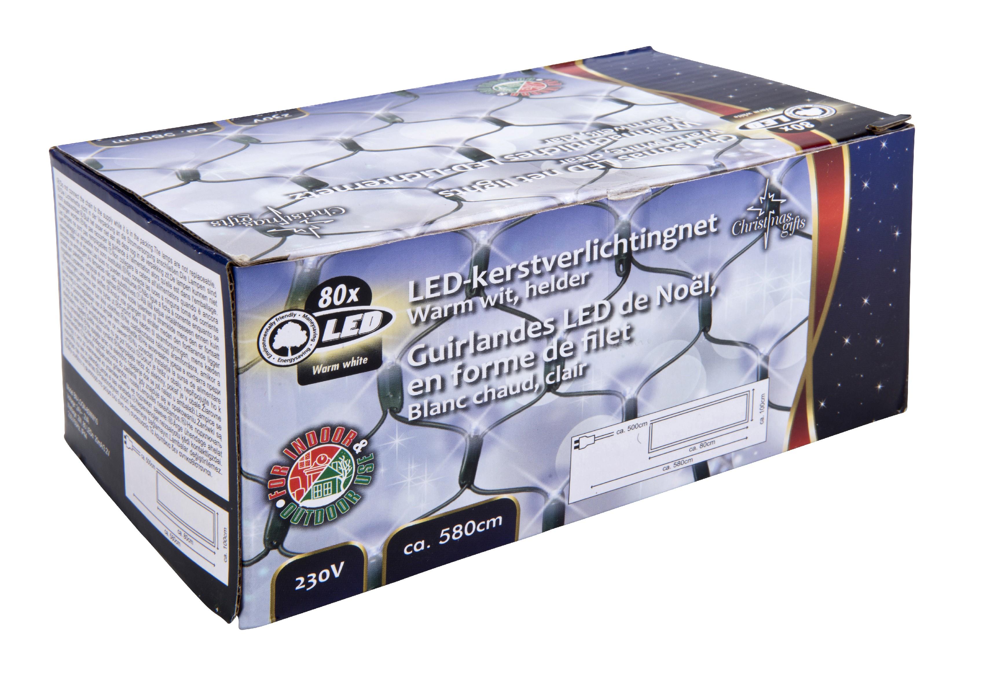 Vánoční světelná síť 80x LED bílá, vnitřní i venkovní použití, 230V, rozměr 1 x 0.8 m