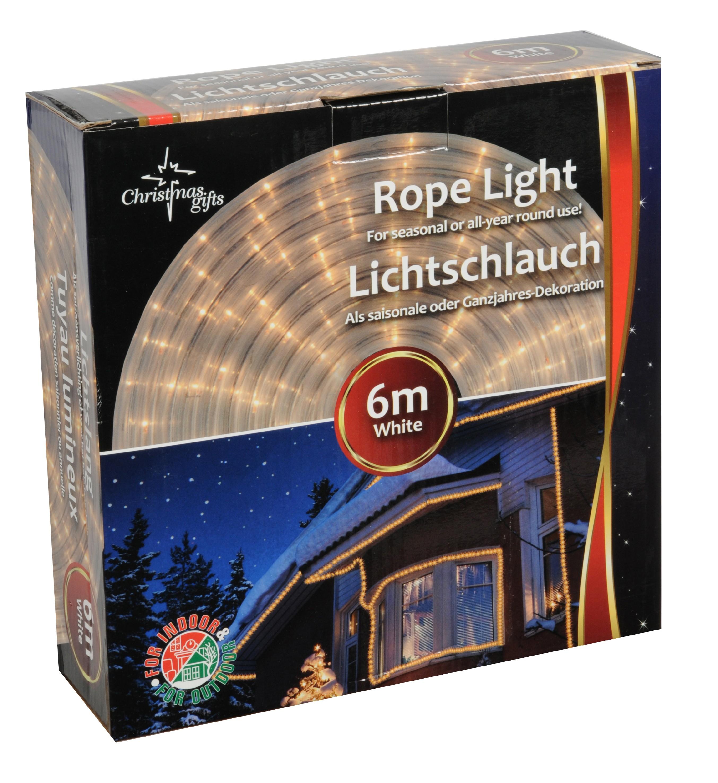 Vánoční venkovní světelný řetěz LED bílý, 230V, délka 6 m