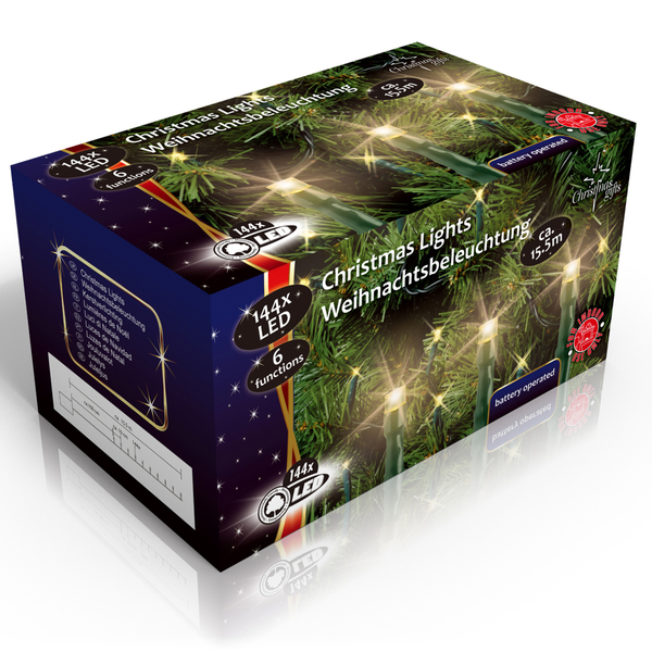 Vánoční vnitřní světelný řetěz 144x LED, 6 režimů, na baterie 3x AA, délka 15.5 m