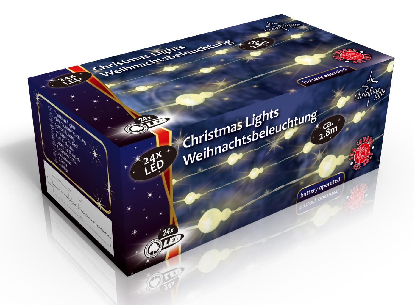 Vánoční vnitřní světelný řetěz 24x LED sněhové koule, na baterie 3x AA, délka 2.8 m