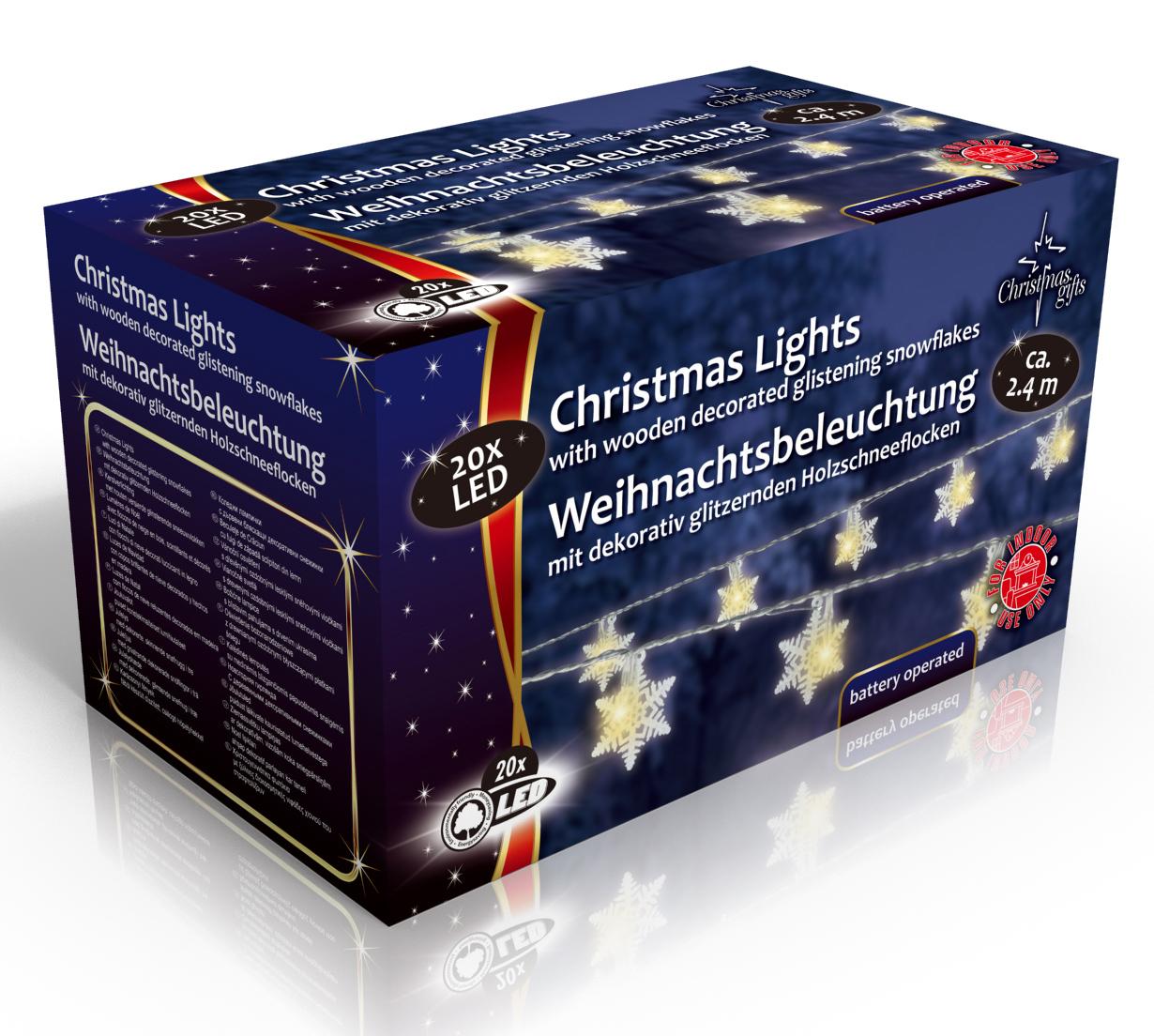 Vánoční vnitřní světelný řetěz 20x LED sněhové vločky, na baterie 3x AA, délka 2.4 m