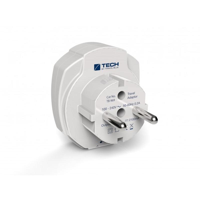 TECH cestovní nabíjecí USB adaptér pro použití v Evropě pro dvě USB zařízení 2100mA TBU-9