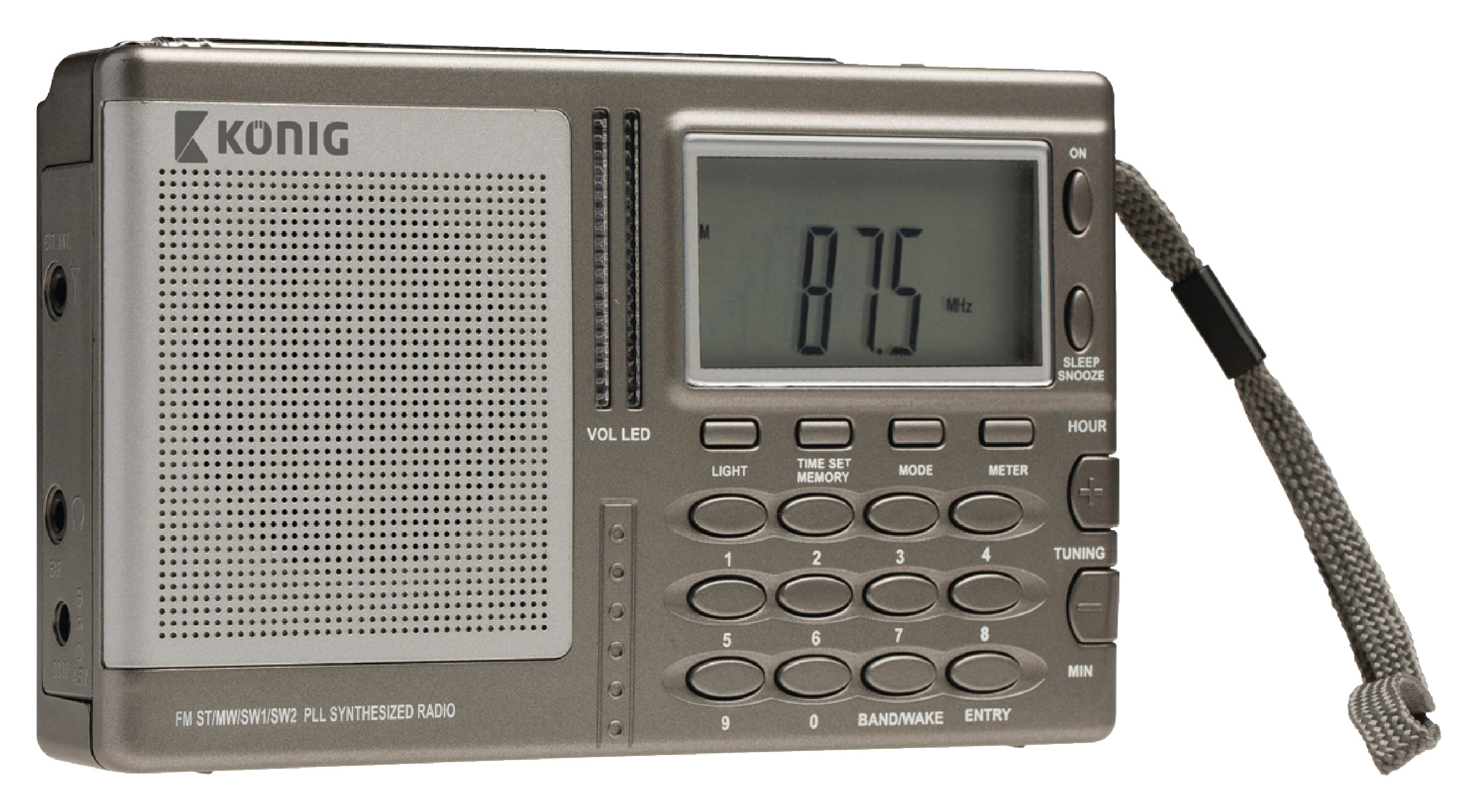 König radiopřijímač AM/FM/SW s digitálním laděním a hodinami HAV-PR31