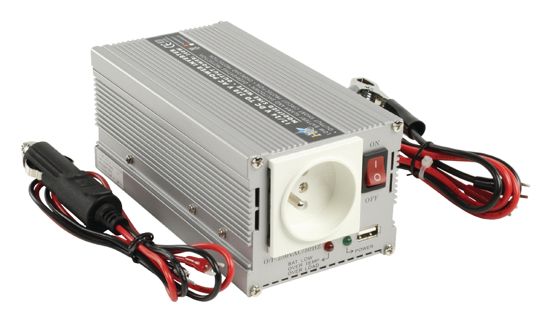 HQ měnič napětí 12 V na 230 V, 300 W, USB, CZ zásuvky, HQ-INV300WU12F