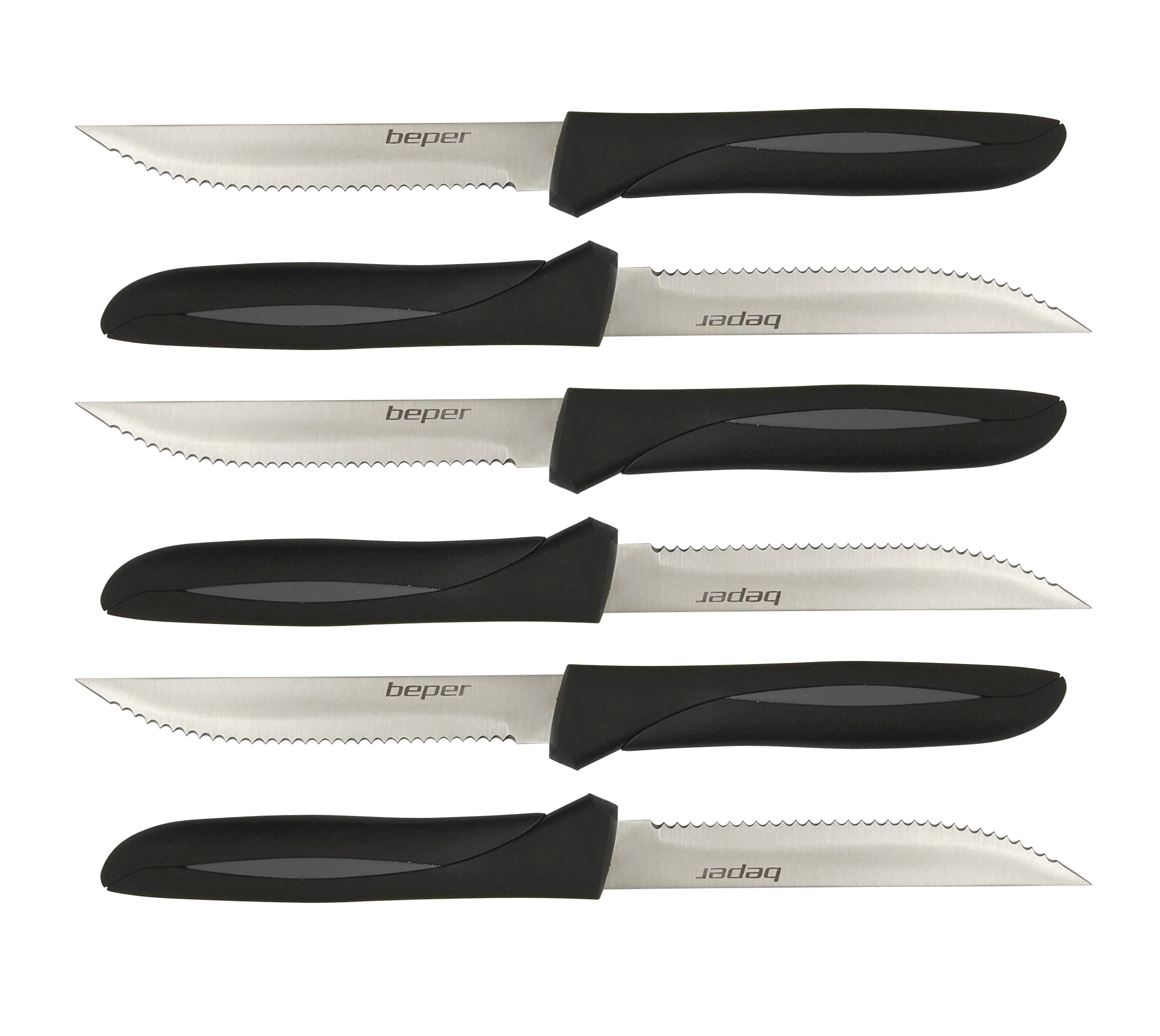 BEPER CO002 sada steakových nožů s vroubkovaným ostřím, 6ks