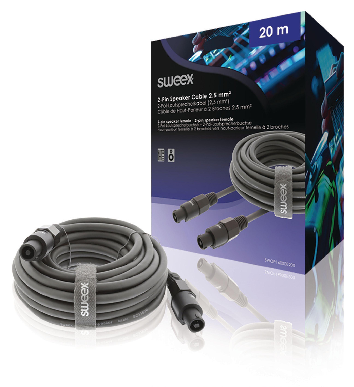 Repro kabel reproduktorová 2-Pin zásuvka - reproduktorová 2-Pin zásuvka 20.0 m Sweex