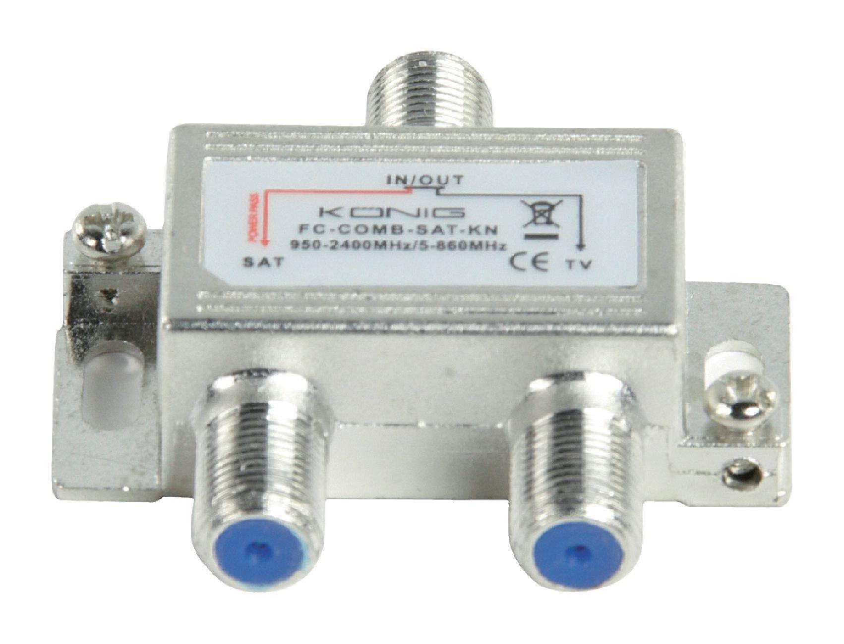 Slučovač SAT/UHF/VHF 5-862 MHz / 950-2400 MHz König FC-COMB-SAT-KN