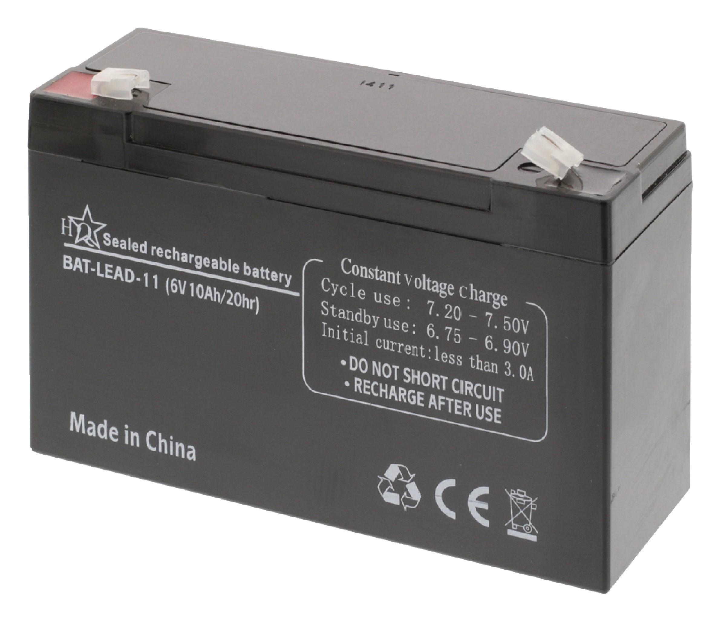 HQ olověná baterie 6V, 10Ah, 151 x 50 x 95 mm (BAT-LEAD-11)