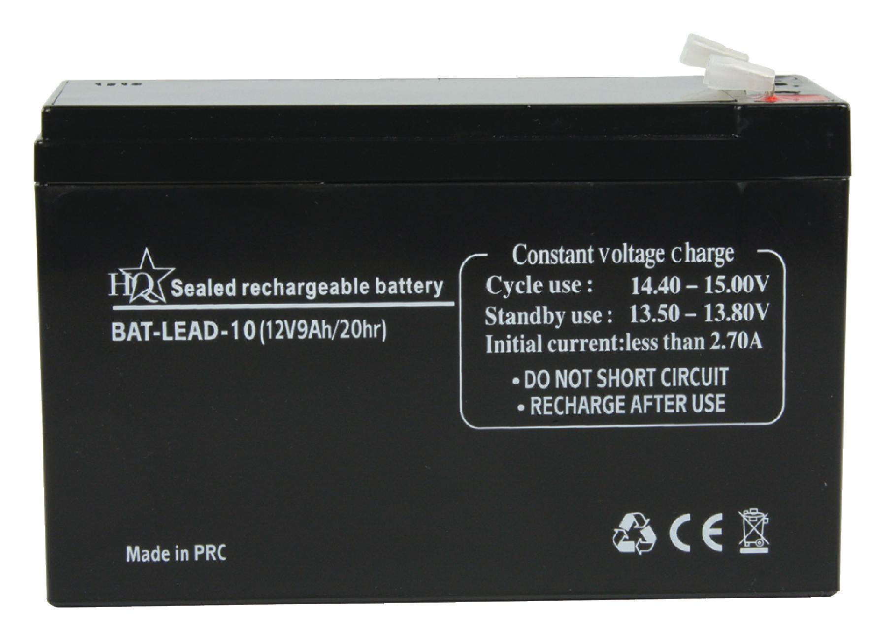 HQ olověná baterie 12V, 9Ah, 150 x 65 x 95 mm (BAT-LEAD-10)