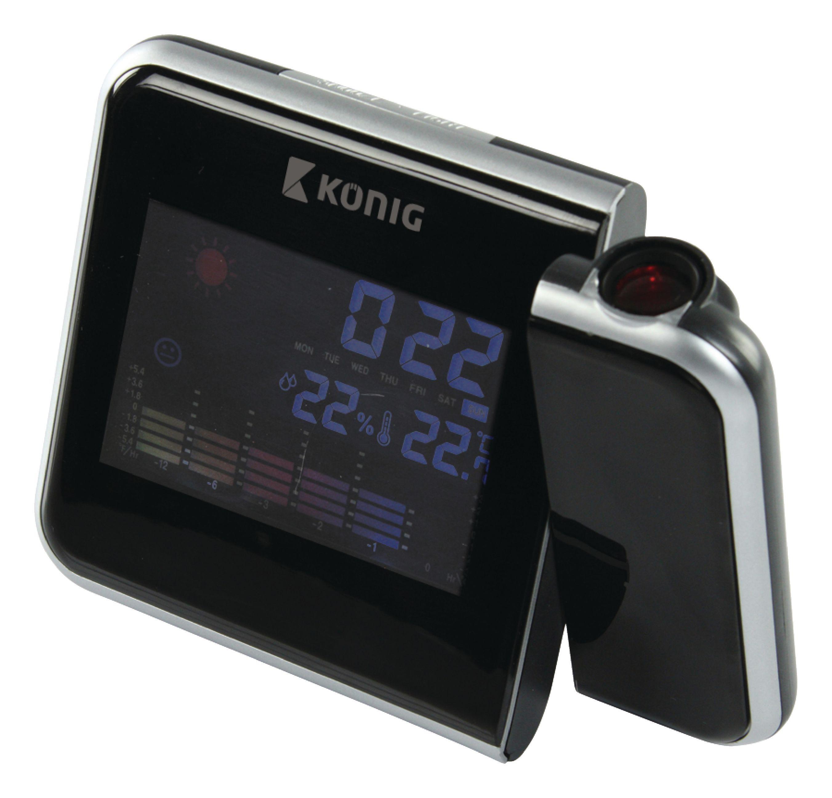 König LCD hodiny s projekcí času a předpovědí počasí König WS103