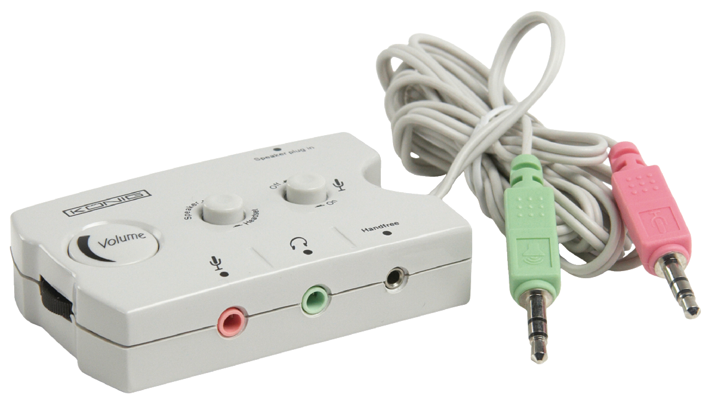 Analogový audio přepínač s regulací hlasitosti pro PC repro, sluchátka a mikrofon König CMP-SWITCH17