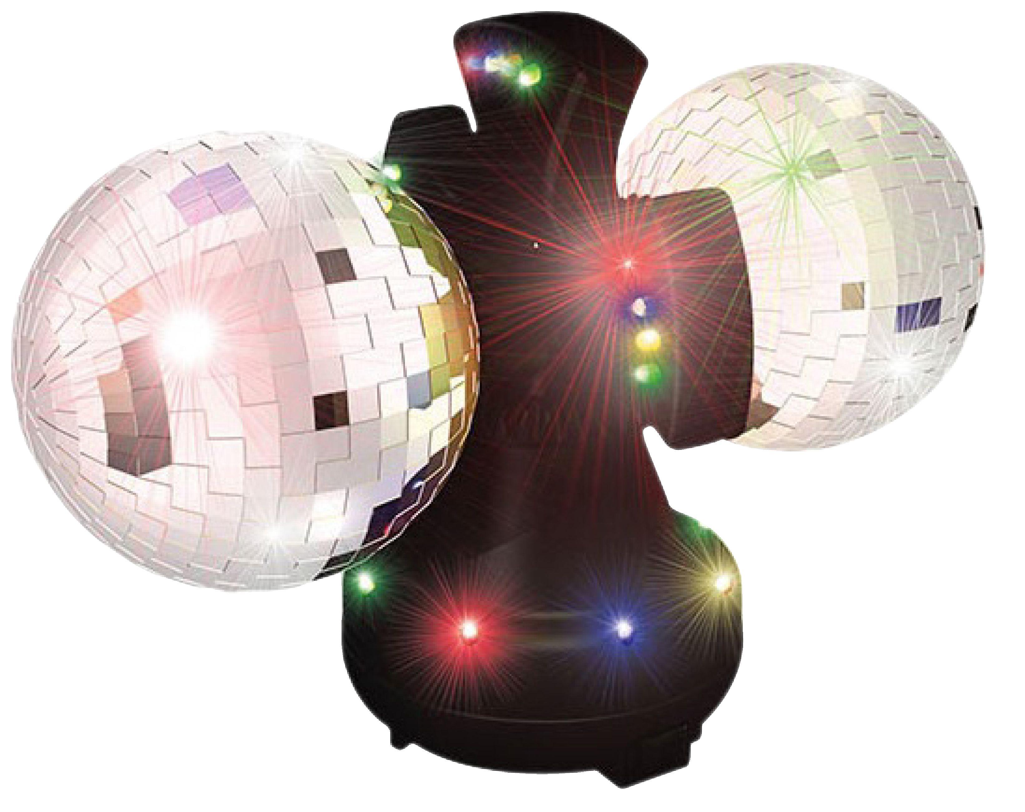 2 rotující zrcadlové disco koule 10 cm s barevnými LED ED871727886489