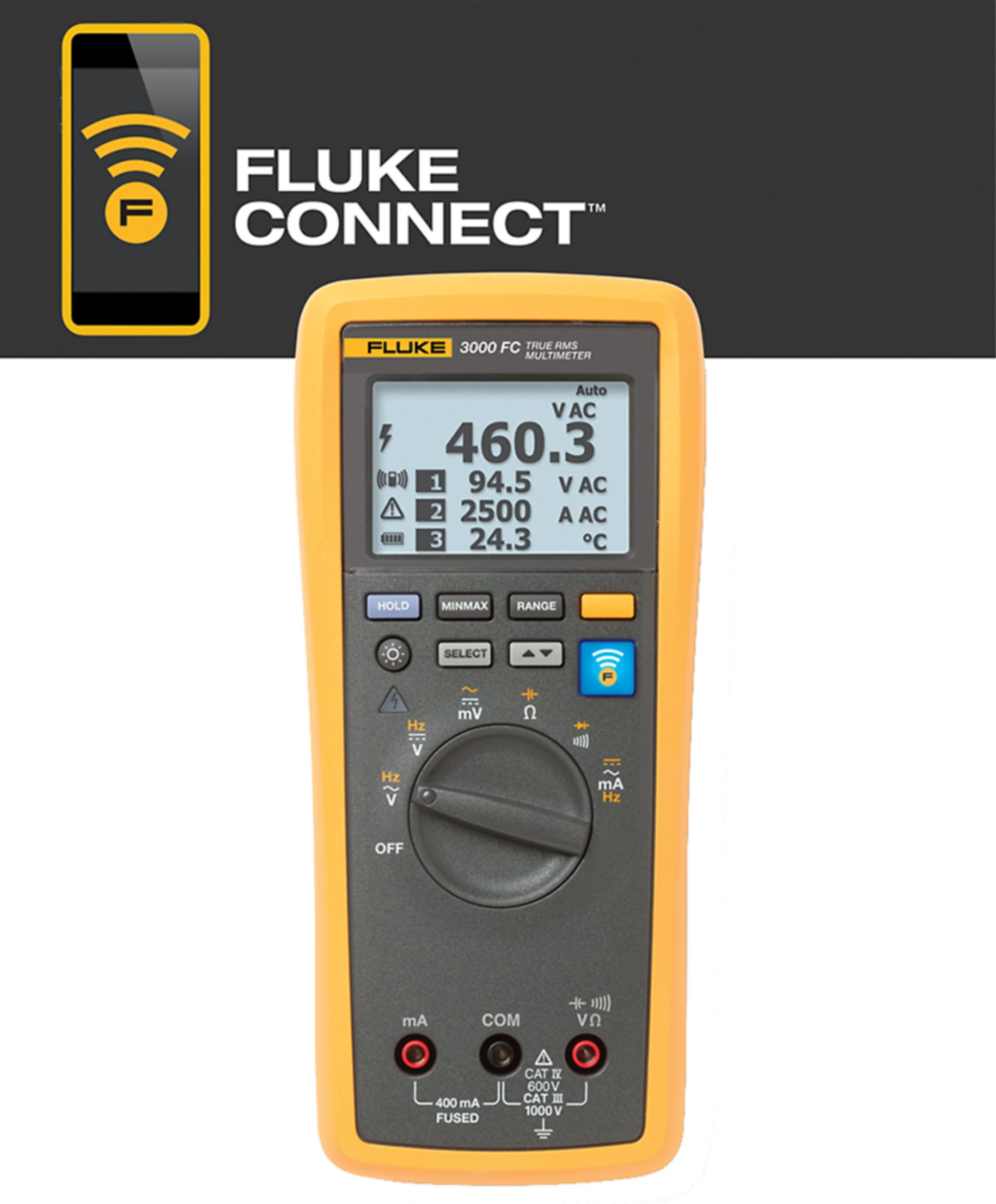 Digitální multimetr TrueRMS Fluke Connect Fluke 3000 FC